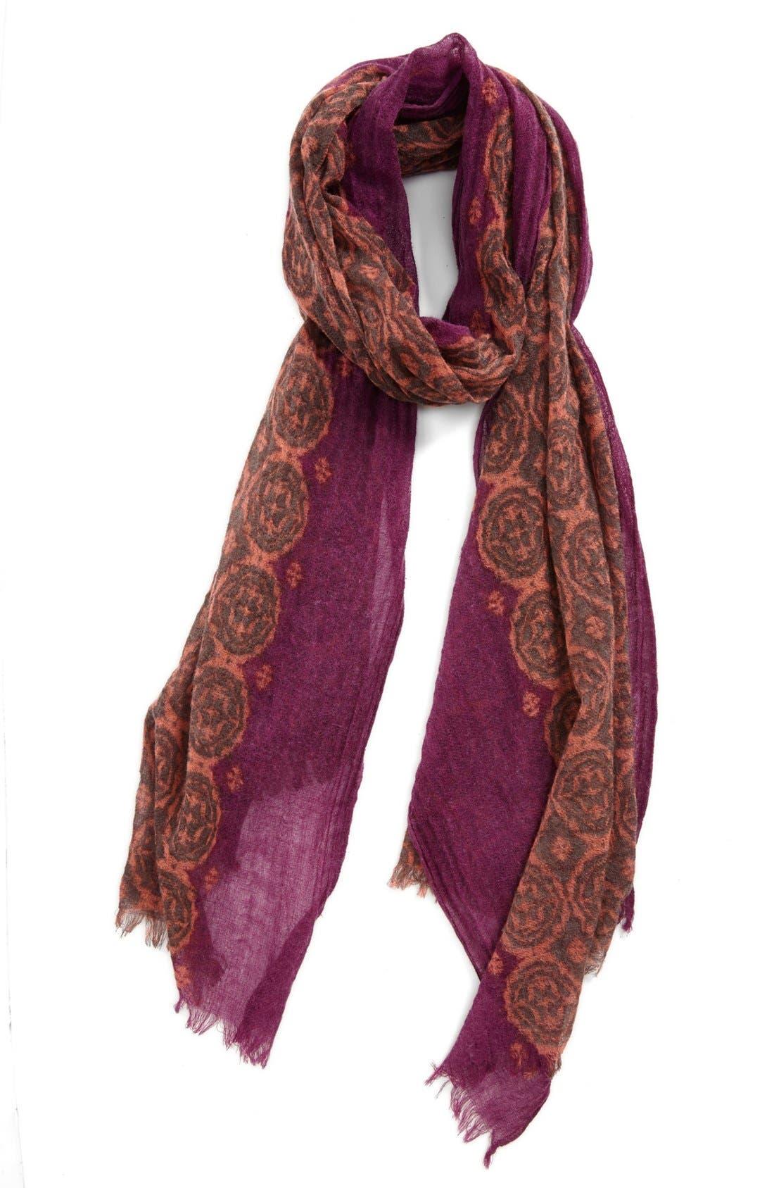 Alternate Image 1 Selected - Nordstrom Floral Tile Wool Gauze Scarf