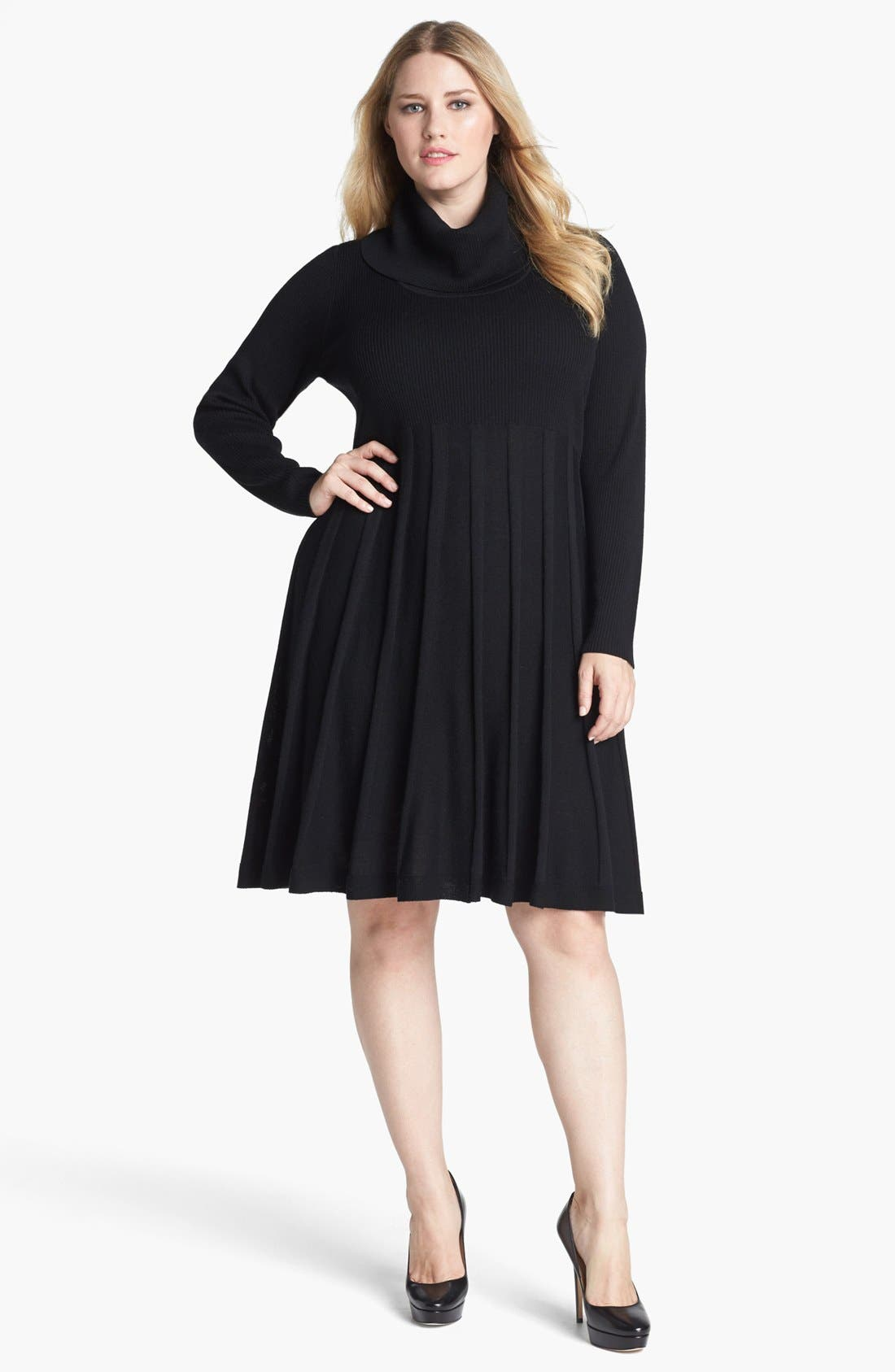 Main Image - Calvin Klein Fit & Flare Sweater Dress (Plus Size)
