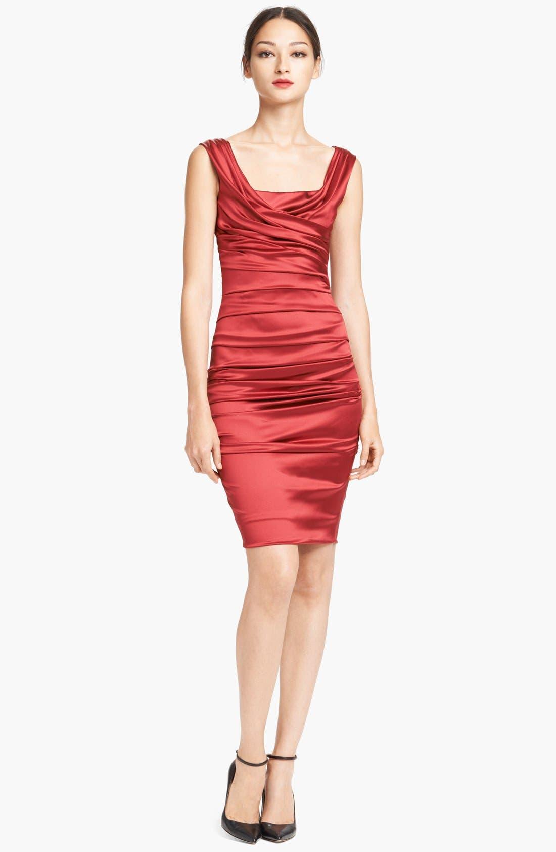 Main Image - Dolce&Gabbana Ruched Stretch Satin Dress