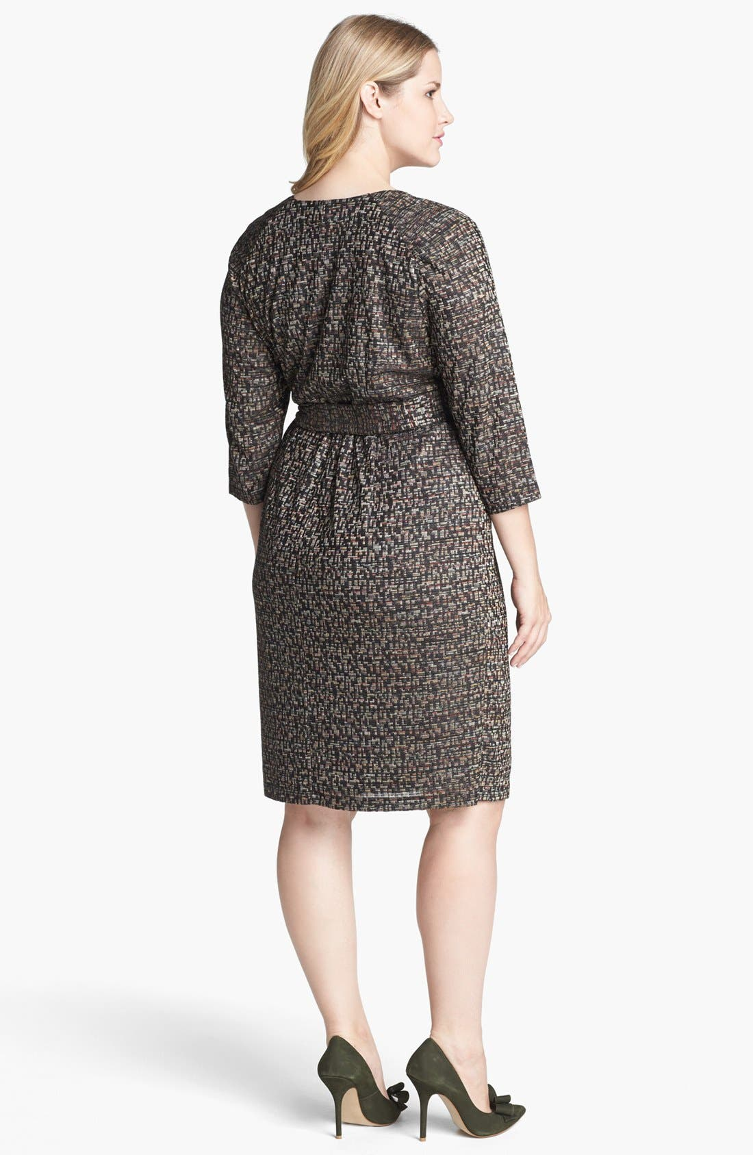 Alternate Image 2  - Ivy & Blu Textured Faux Wrap Dress (Plus Size)