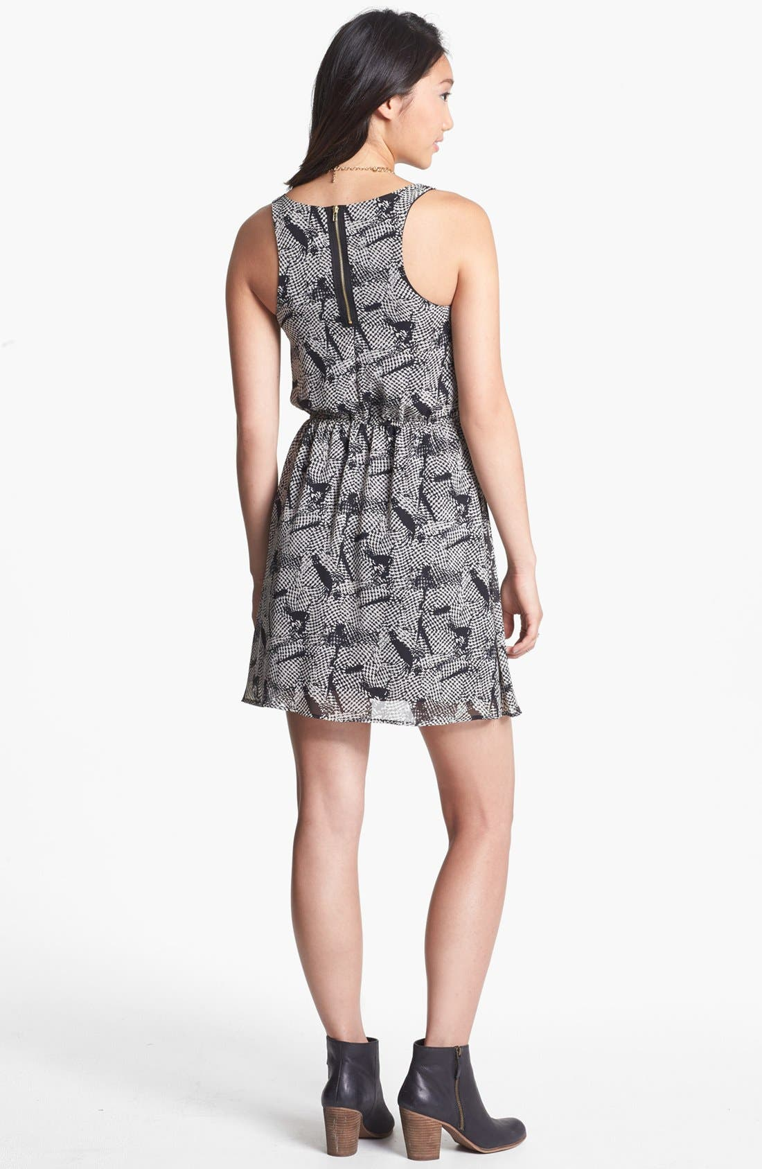 Alternate Image 2  - dee elle Print Zip Back Skater Dress (Juniors)