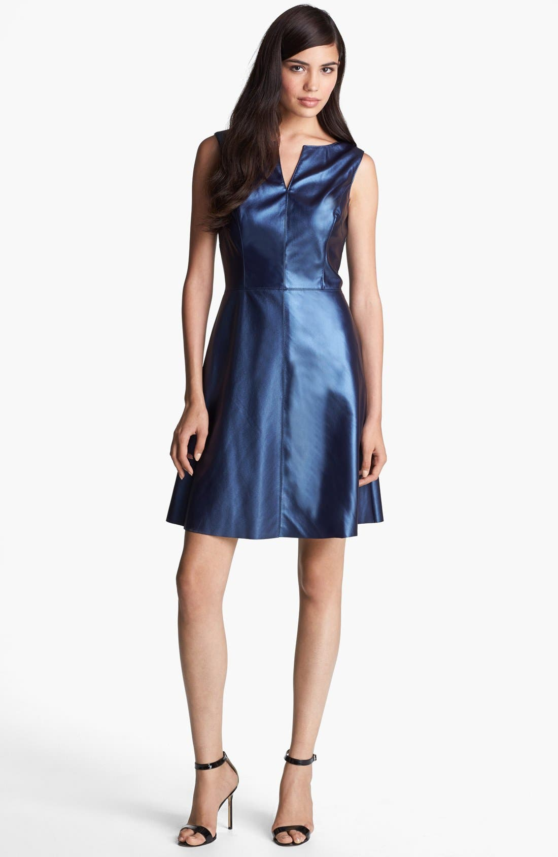 Main Image - Ivy & Blu Faux Leather Fit & Flare Dress
