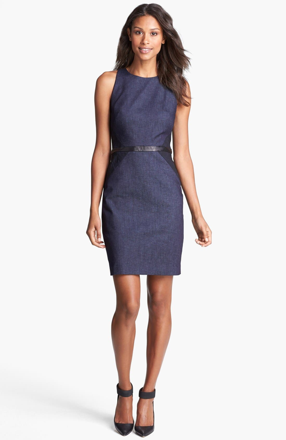 Main Image - Nicole Miller Leather Trim Denim Sheath Dress