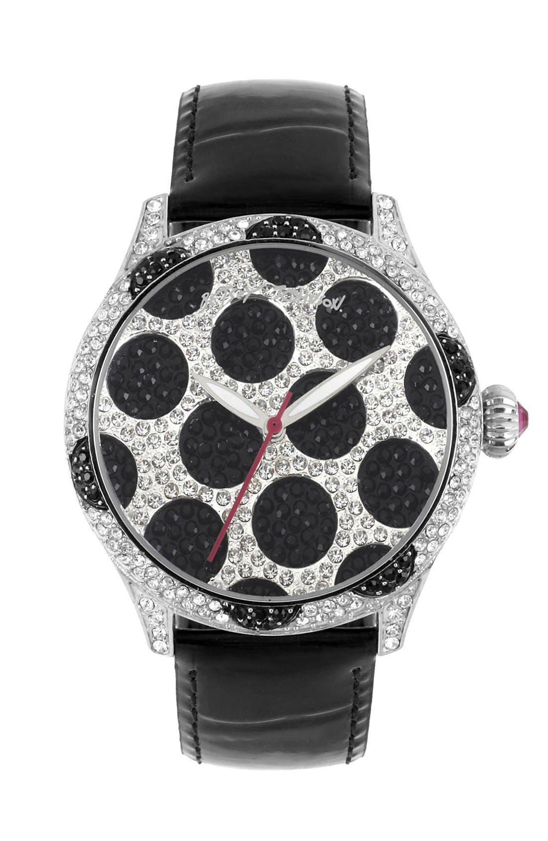 Main Image - Betsey Johnson Polka Dot Dial Watch, 41mm