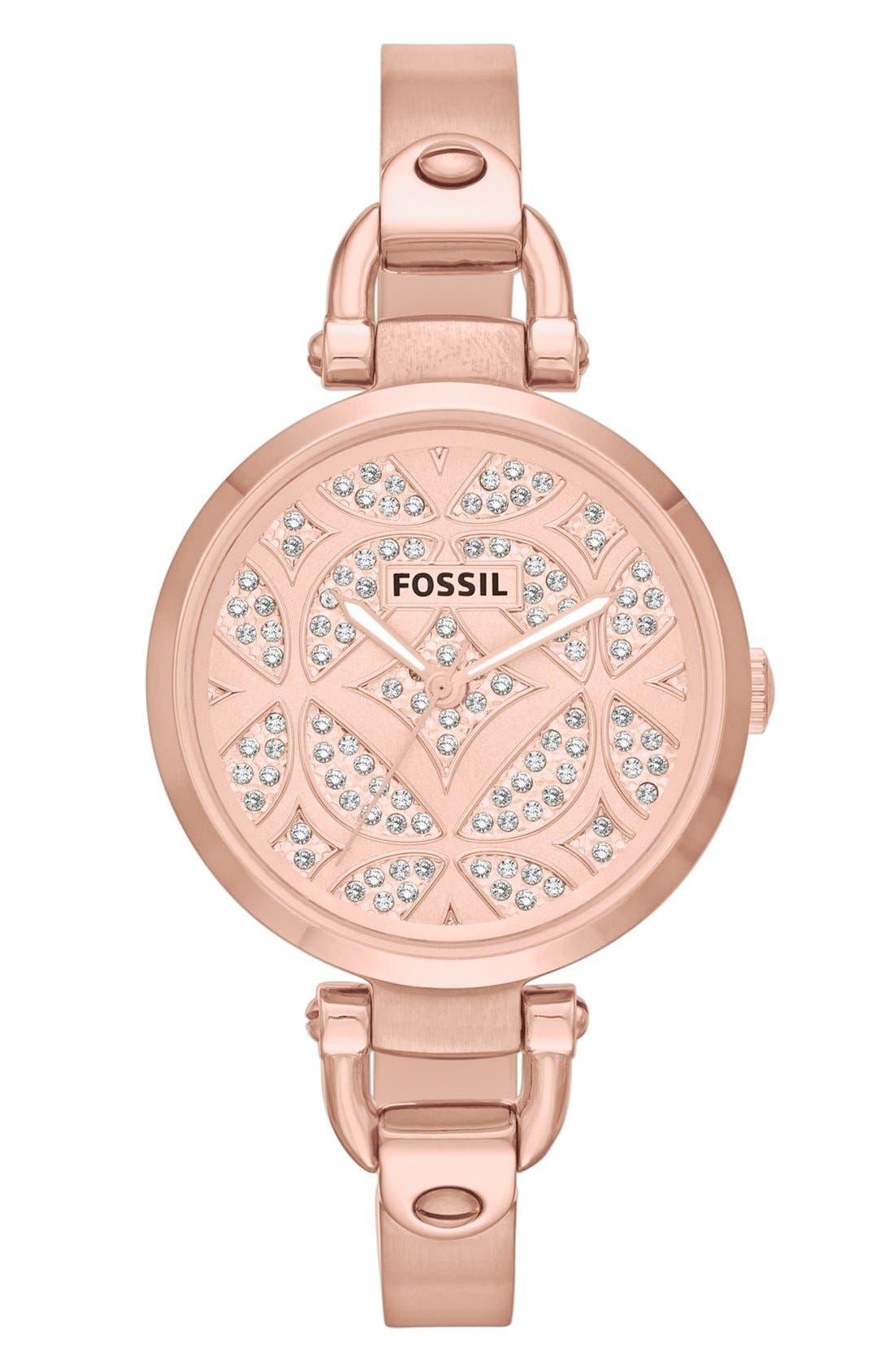 Main Image - Fossil 'Georgia' Pavé Dial Bangle Watch, 32mm