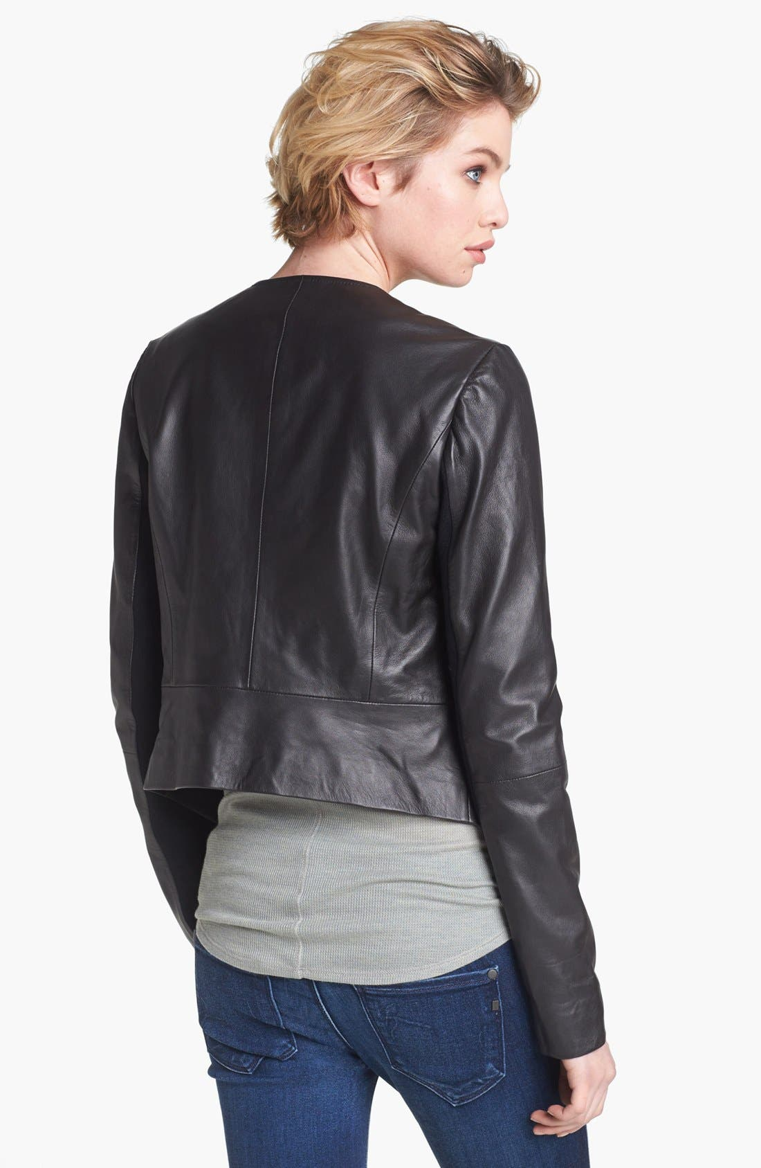 Alternate Image 2  - Hinge® Draped Suede & Leather Jacket