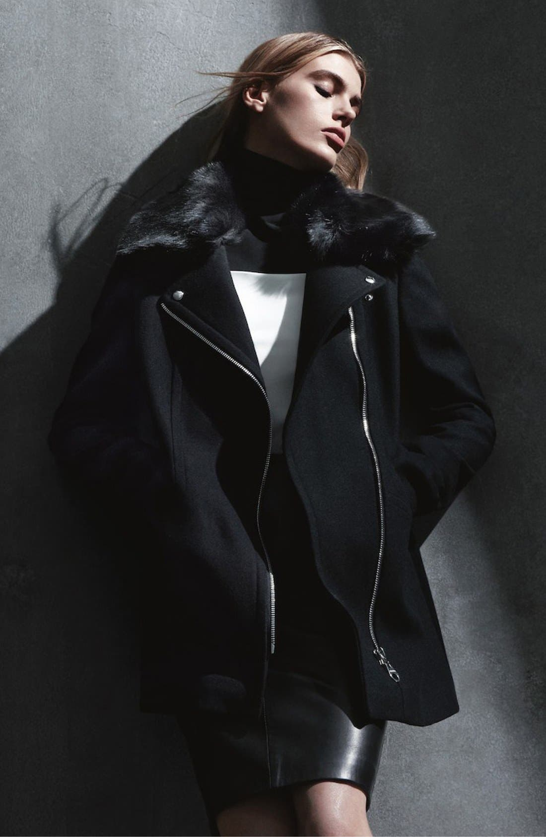 Alternate Image 5  - Calvin Klein Faux Fur Collar Wool Blend Moto Coat