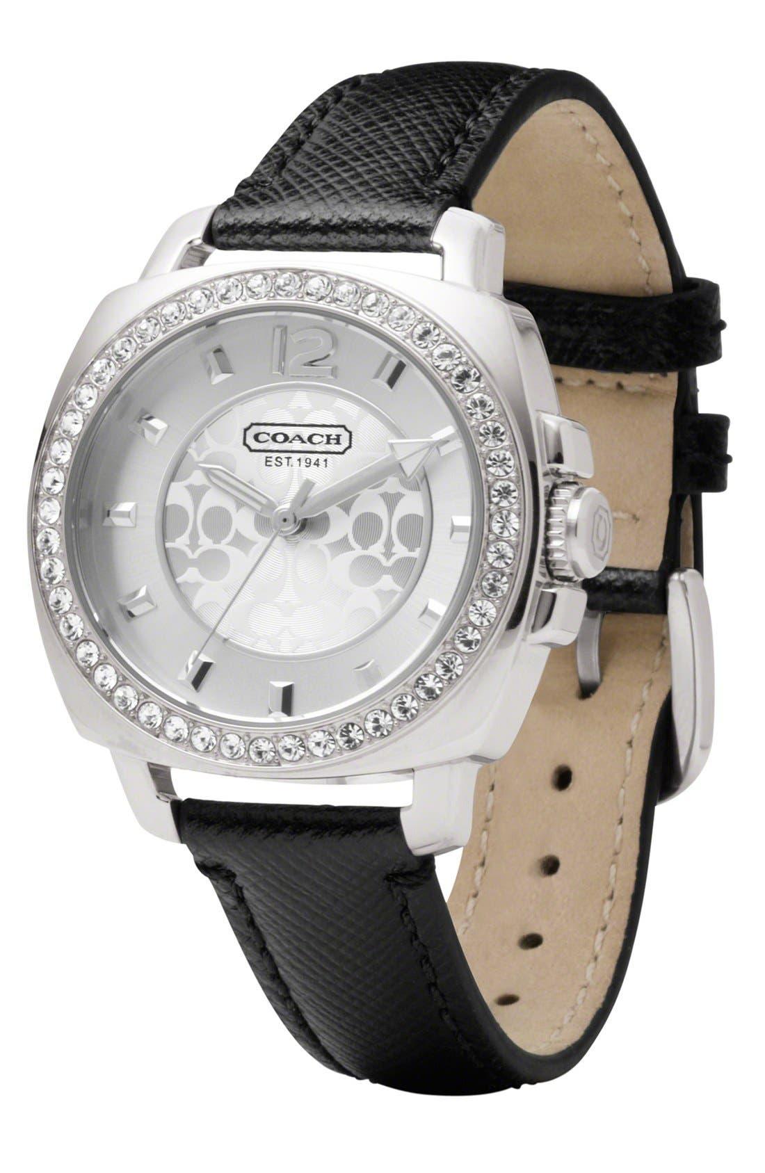 Alternate Image 2  - COACH 'Boyfriend' Crystal Bezel Leather Strap Watch, 40mm