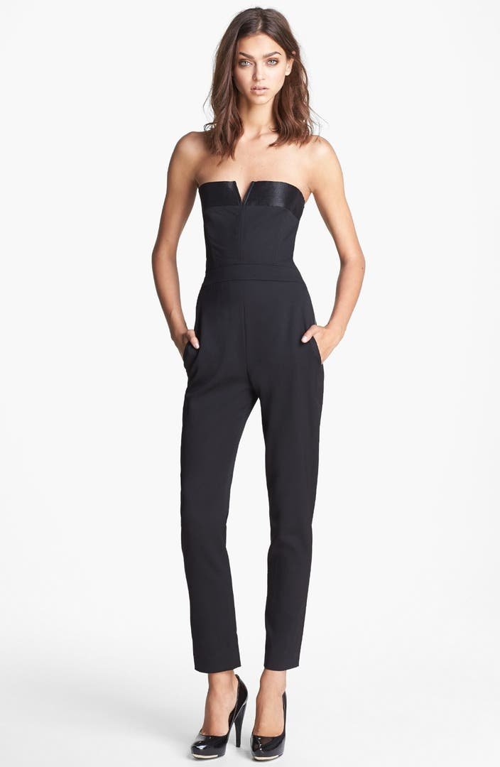 the kooples strapless satin trim jumpsuit nordstrom. Black Bedroom Furniture Sets. Home Design Ideas