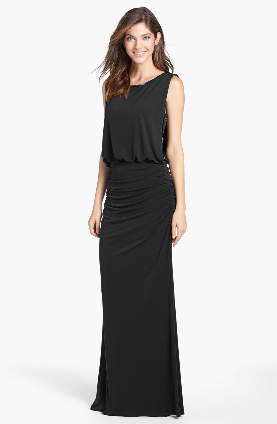 Main Image - Laundry by Shelli Segal Bead Trim Jersey Blouson Gown