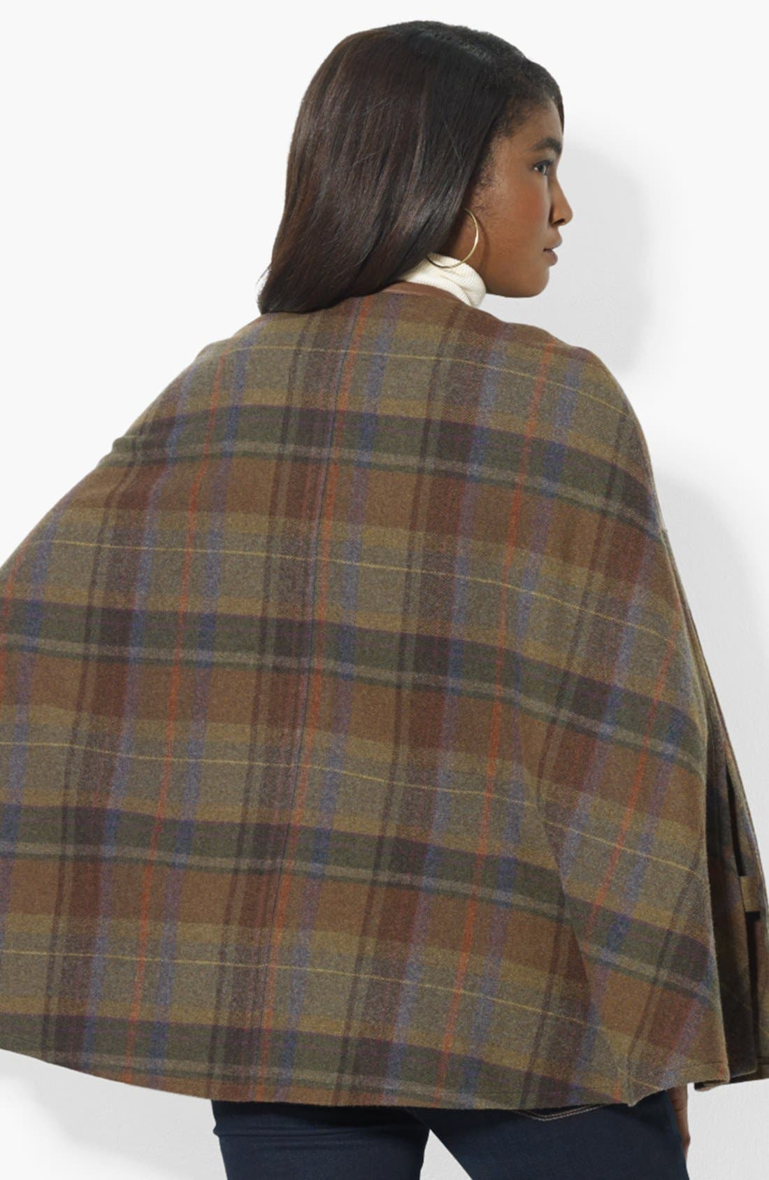 Alternate Image 2  - Lauren Ralph Lauren Plaid Wool Plaid Cape (Online Only)