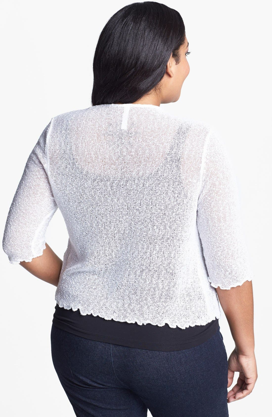 Alternate Image 2  - Evans Popcorn Knit Shrug (Plus Size)