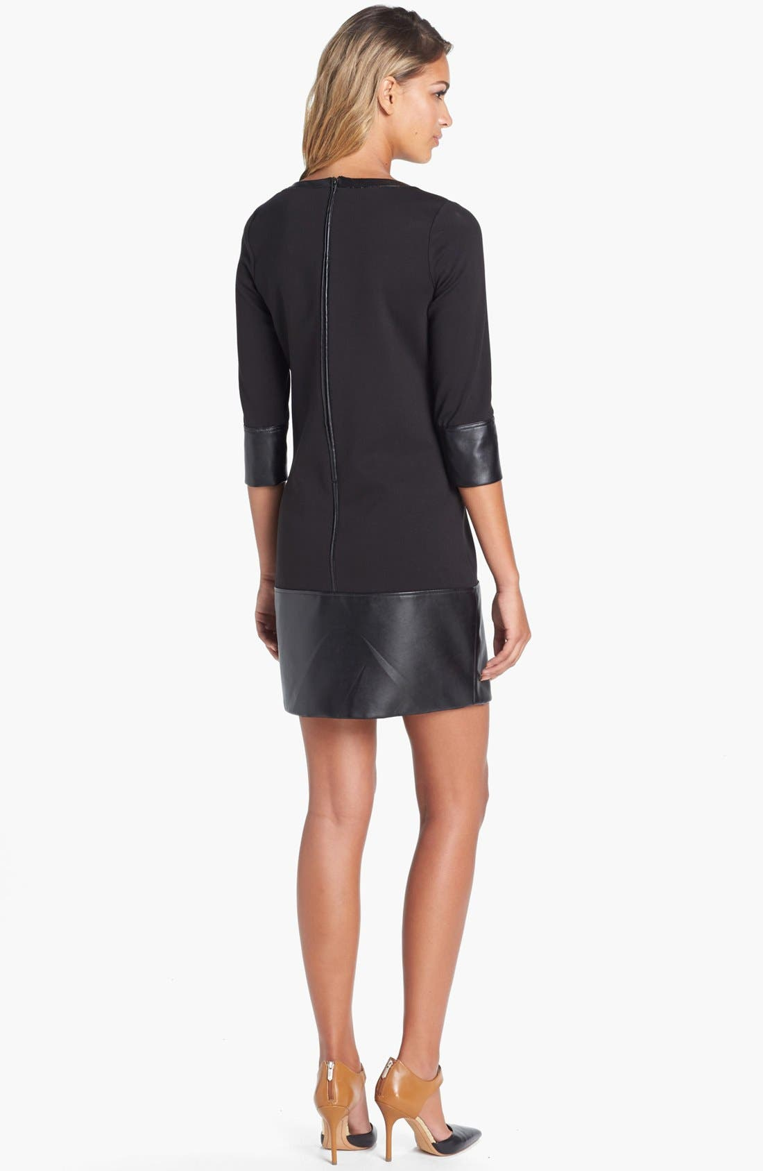 Alternate Image 2  - Laundry by Shelli Segal Knit & Faux Leather Drop Waist Shift Dress