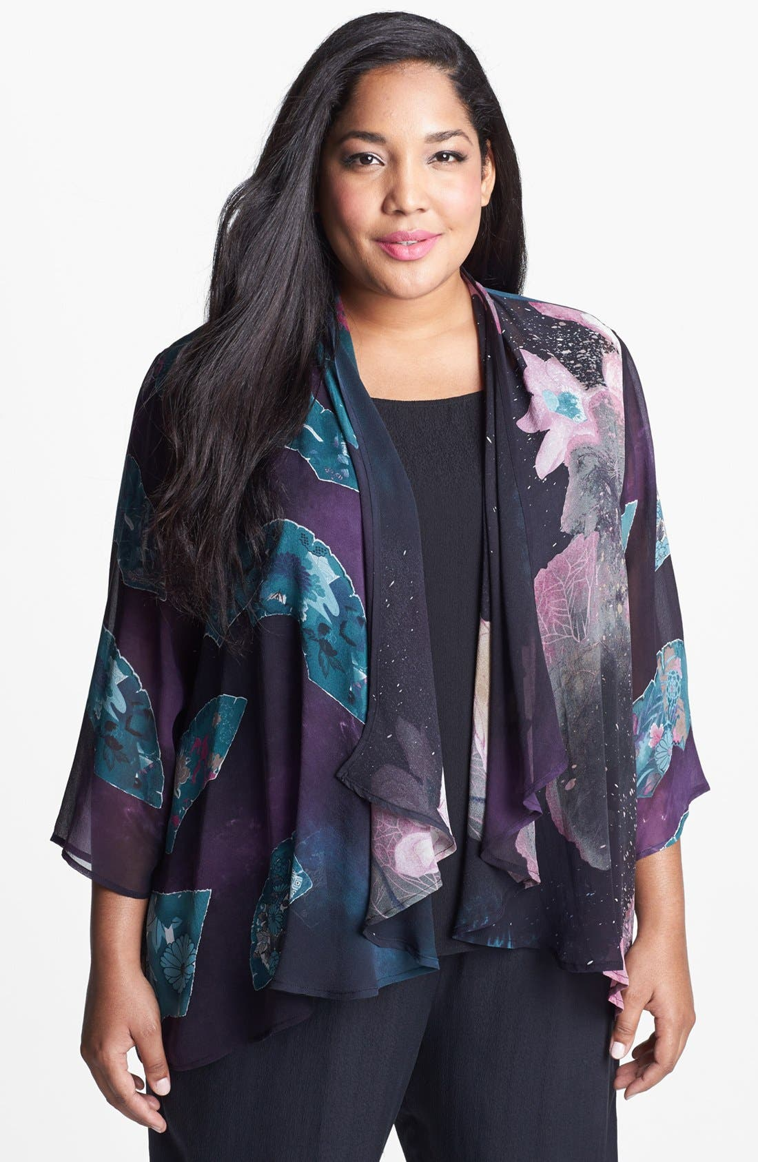 Alternate Image 1 Selected - Citron Print Drape Front Silk Jacket (Plus Size)