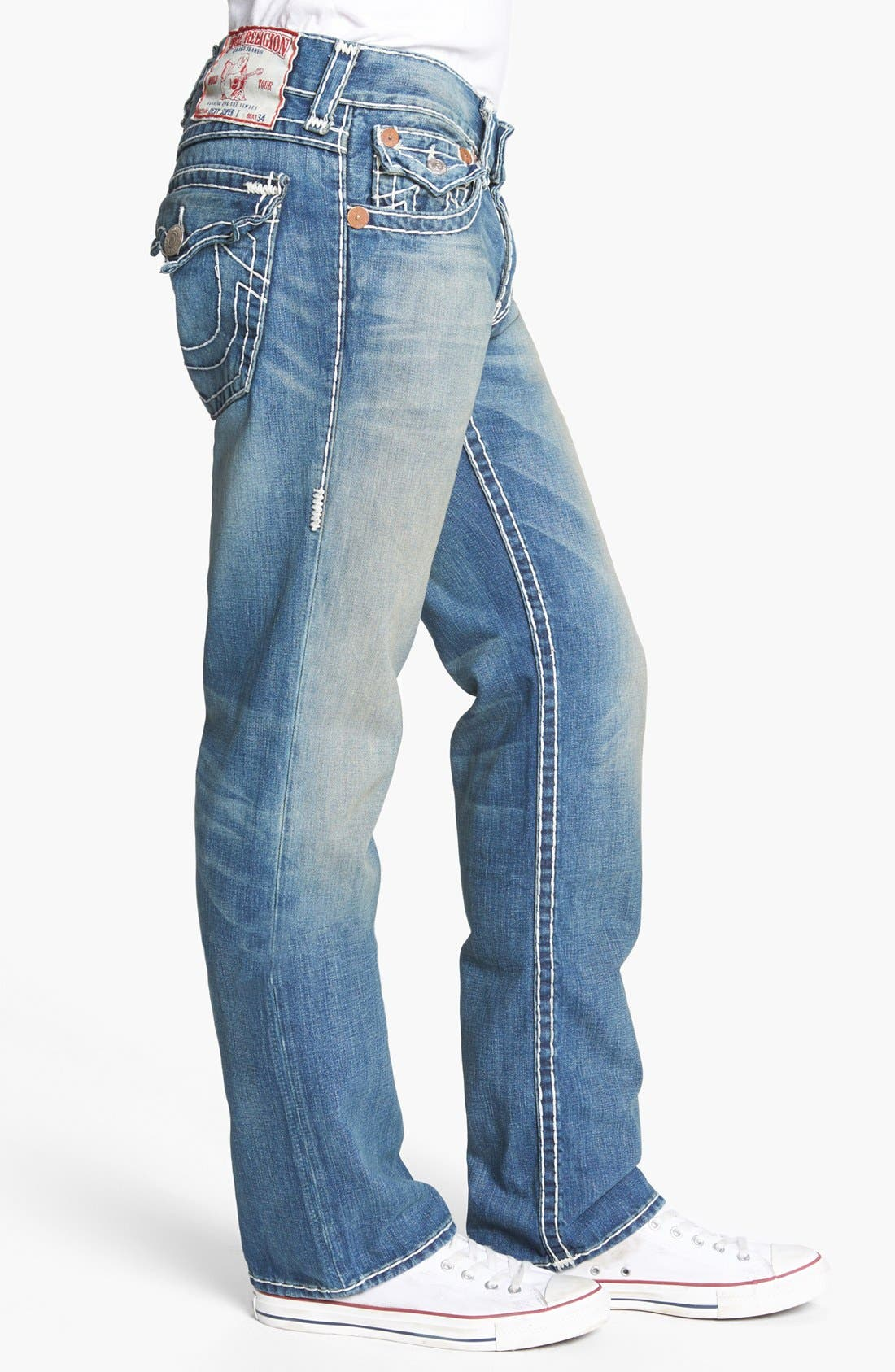 Alternate Image 3  - True Religion Brand Jeans 'Ricky - Natural Super T' Straight Leg Jeans (AADM Devers Canyon)