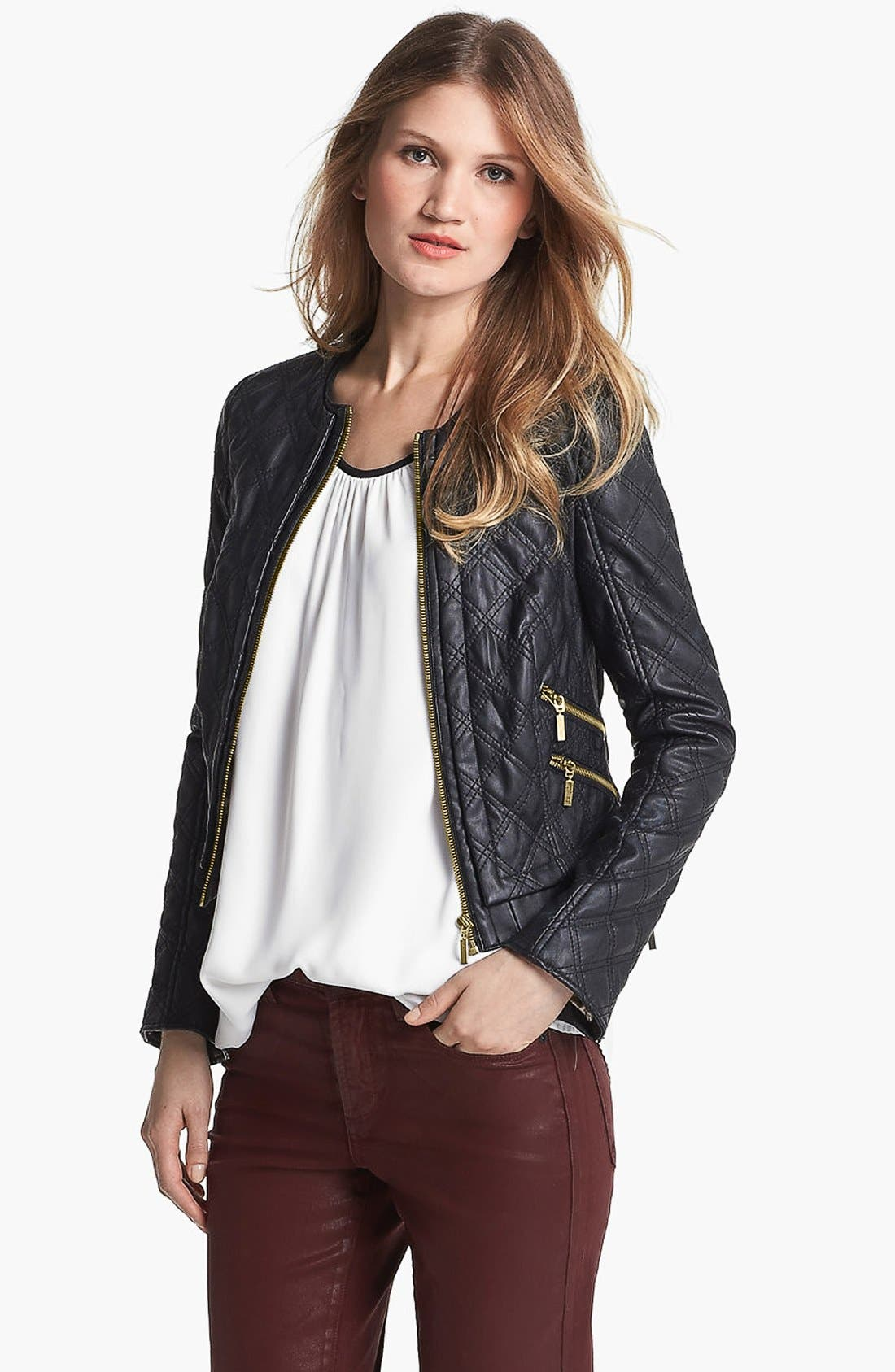 Main Image - Chaus Collarless Quilted Faux Leather Jacket