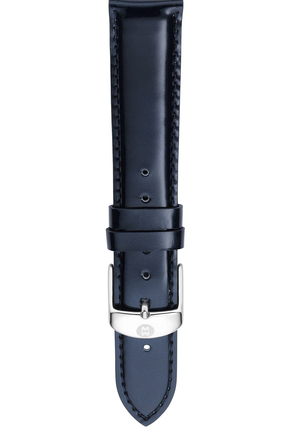 Alternate Image 1 Selected - MICHELE 'Deco Diamond' Watch Case & 18mm Patent Leather Strap
