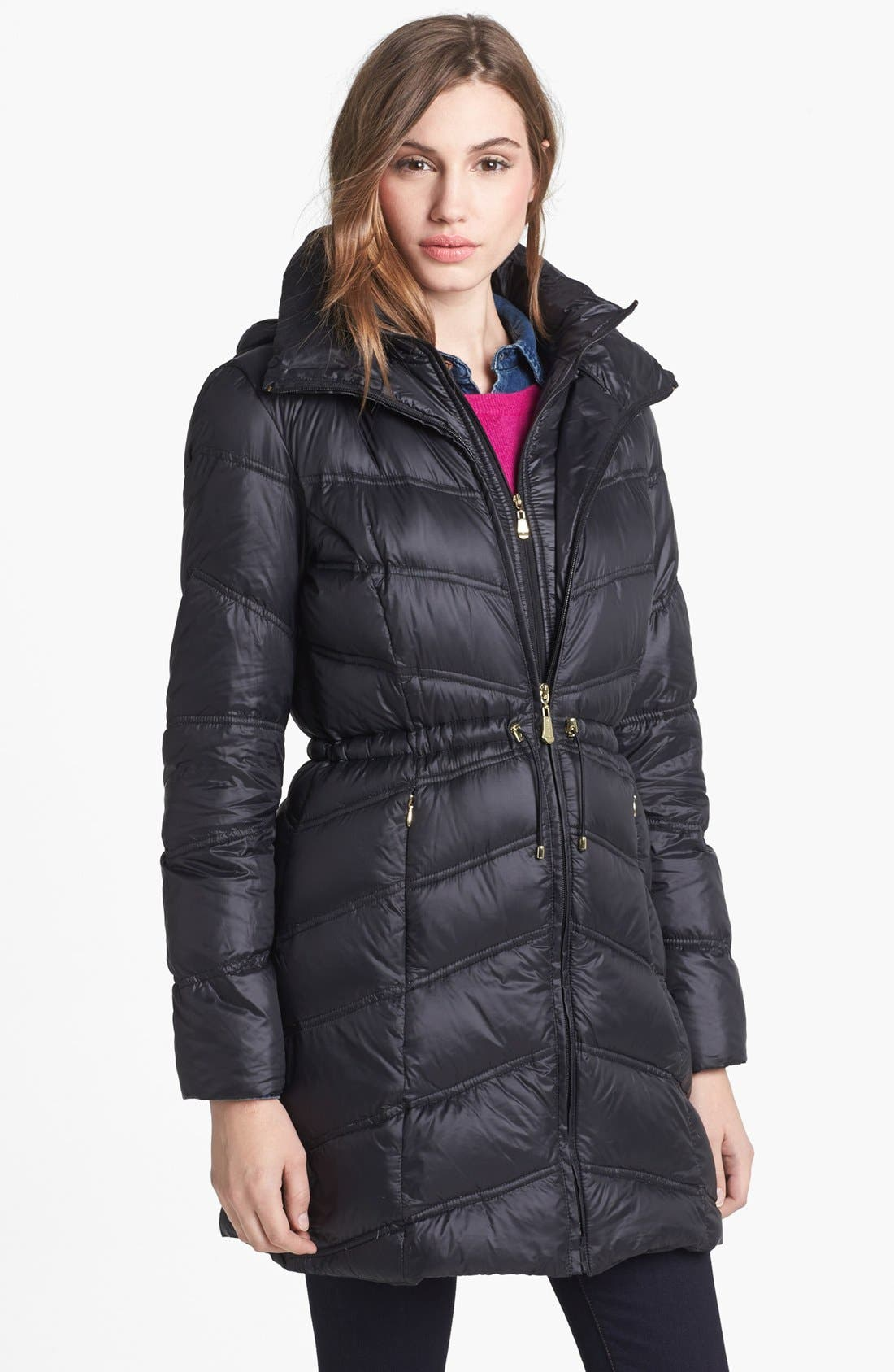 Alternate Image 1 Selected - Ellen Tracy Packable Hooded Down Anorak (Petite)