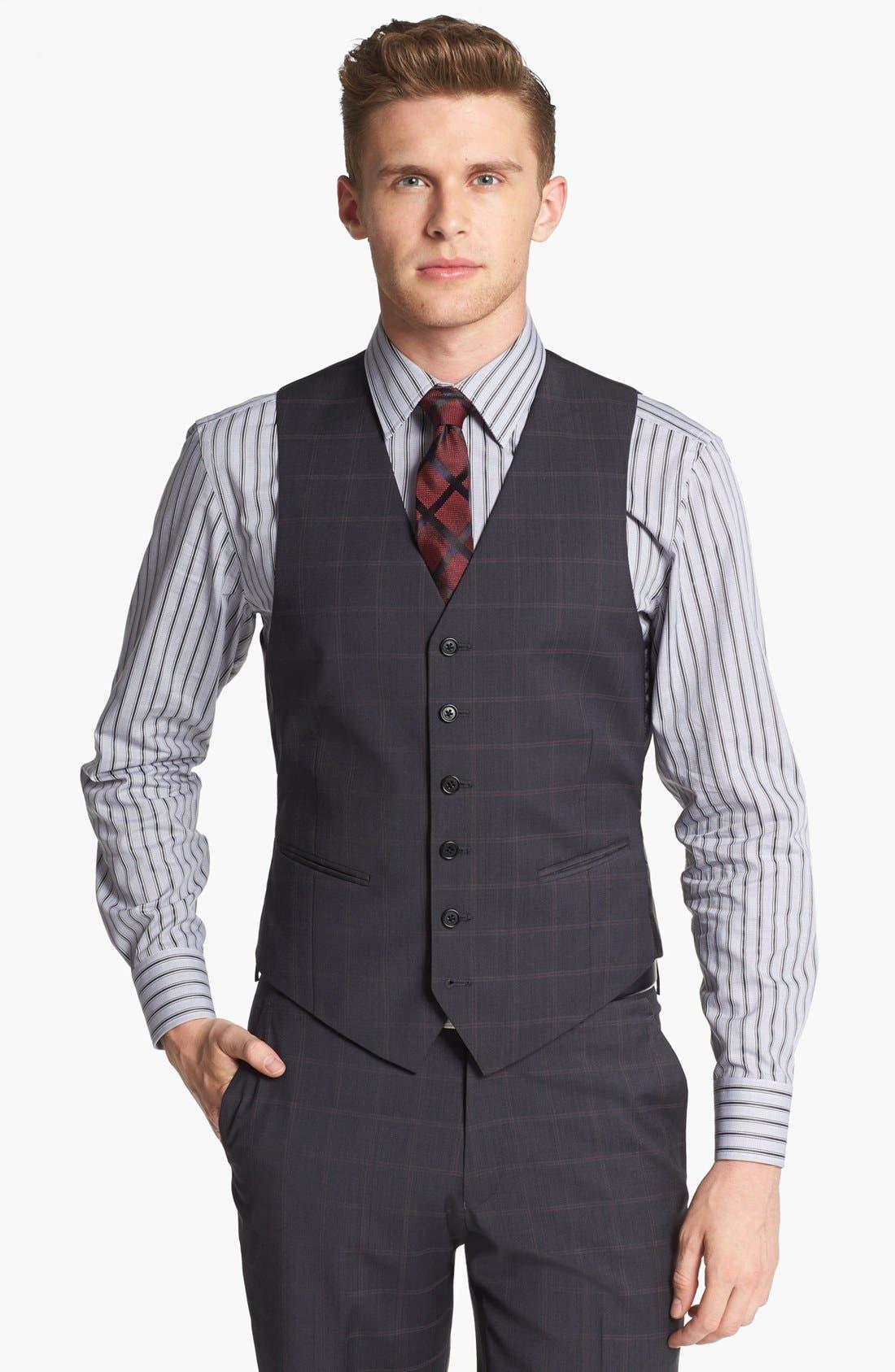 Alternate Image 4  - John Varvatos Star USA Trim Fit Three-Piece Wool Suit