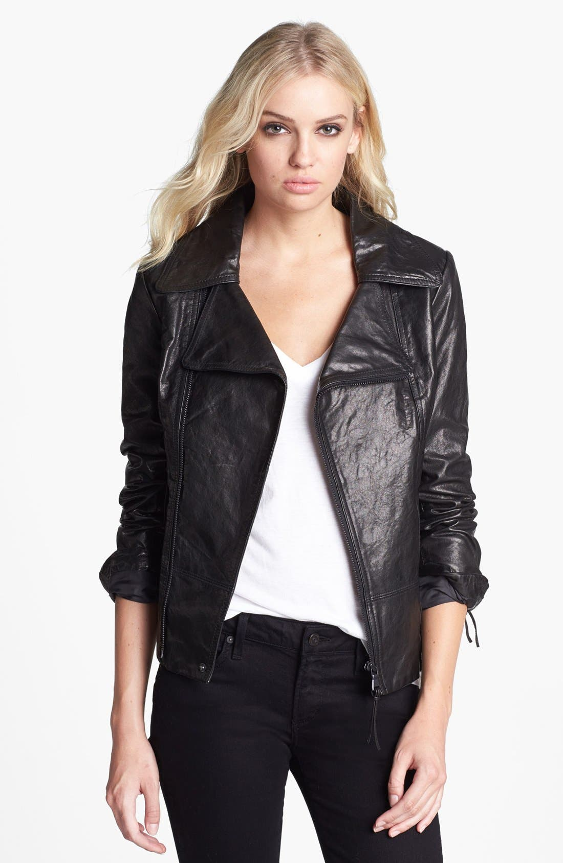 Alternate Image 1 Selected - June Asymmetrical Leather Moto Jacket (Online Only)
