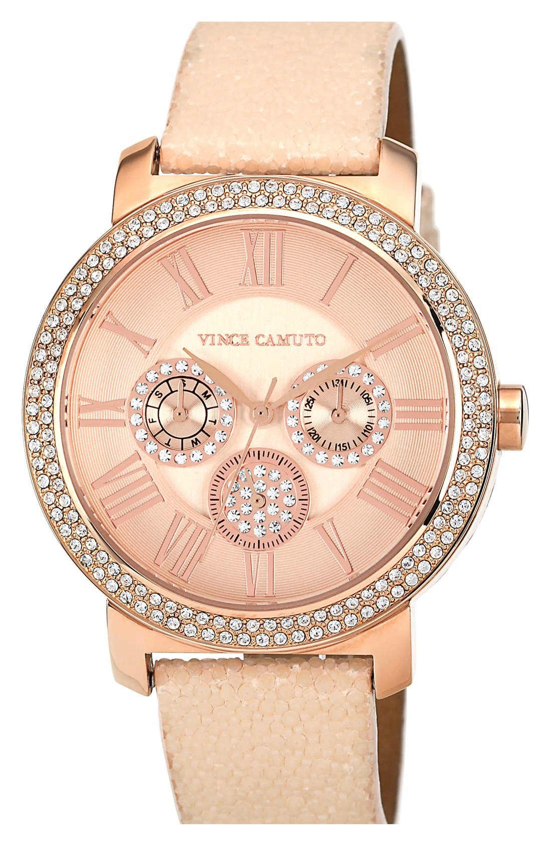 Main Image - Vince Camuto Round Multifunction Stingray Strap Watch, 42mm
