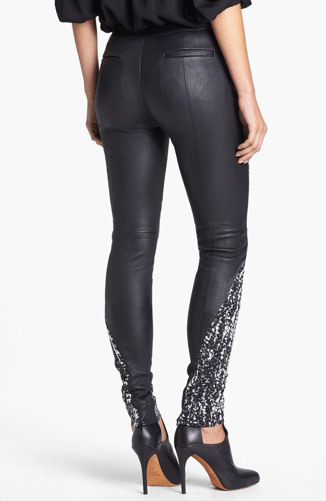 Alternate Image 2  - Diane von Furstenberg 'Dorthia' Mikado & Leather Pants