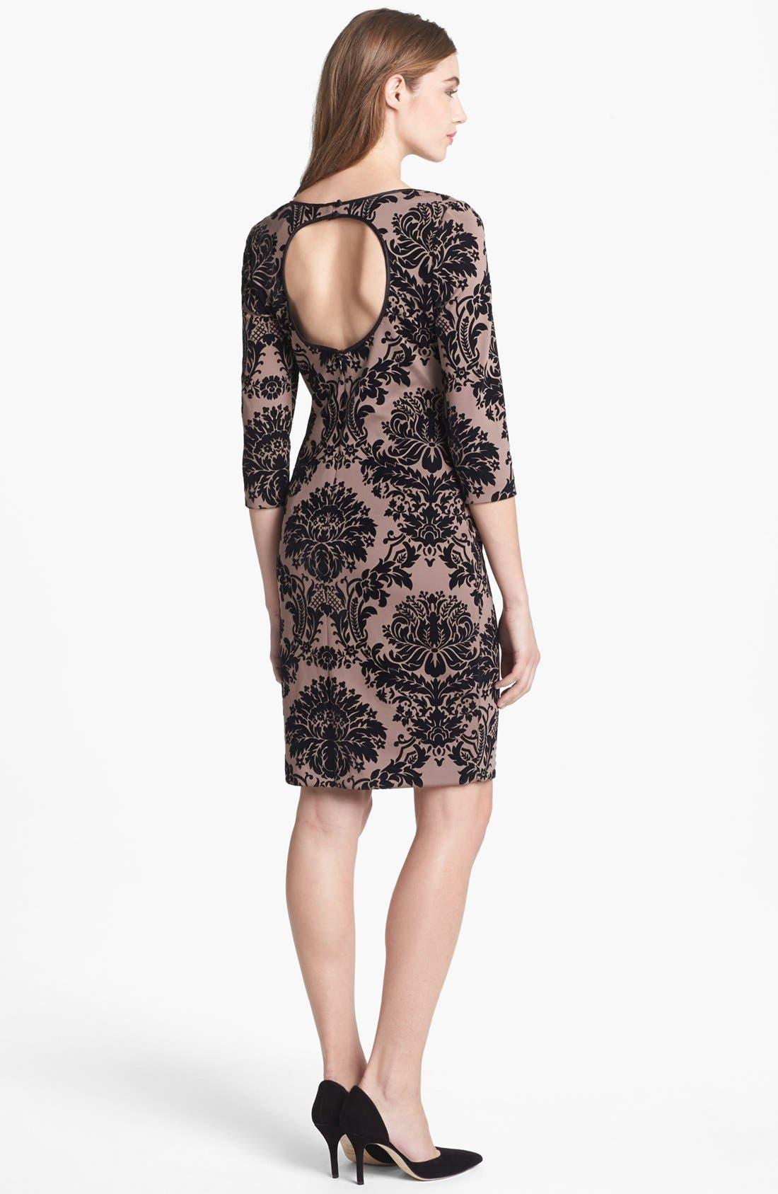 Alternate Image 2  - Aidan Mattox Flocked Sheath Dress