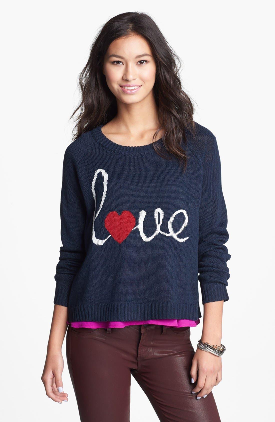 Alternate Image 1 Selected - Love by Design 'Love' Scoop Neck Sweater (Juniors)