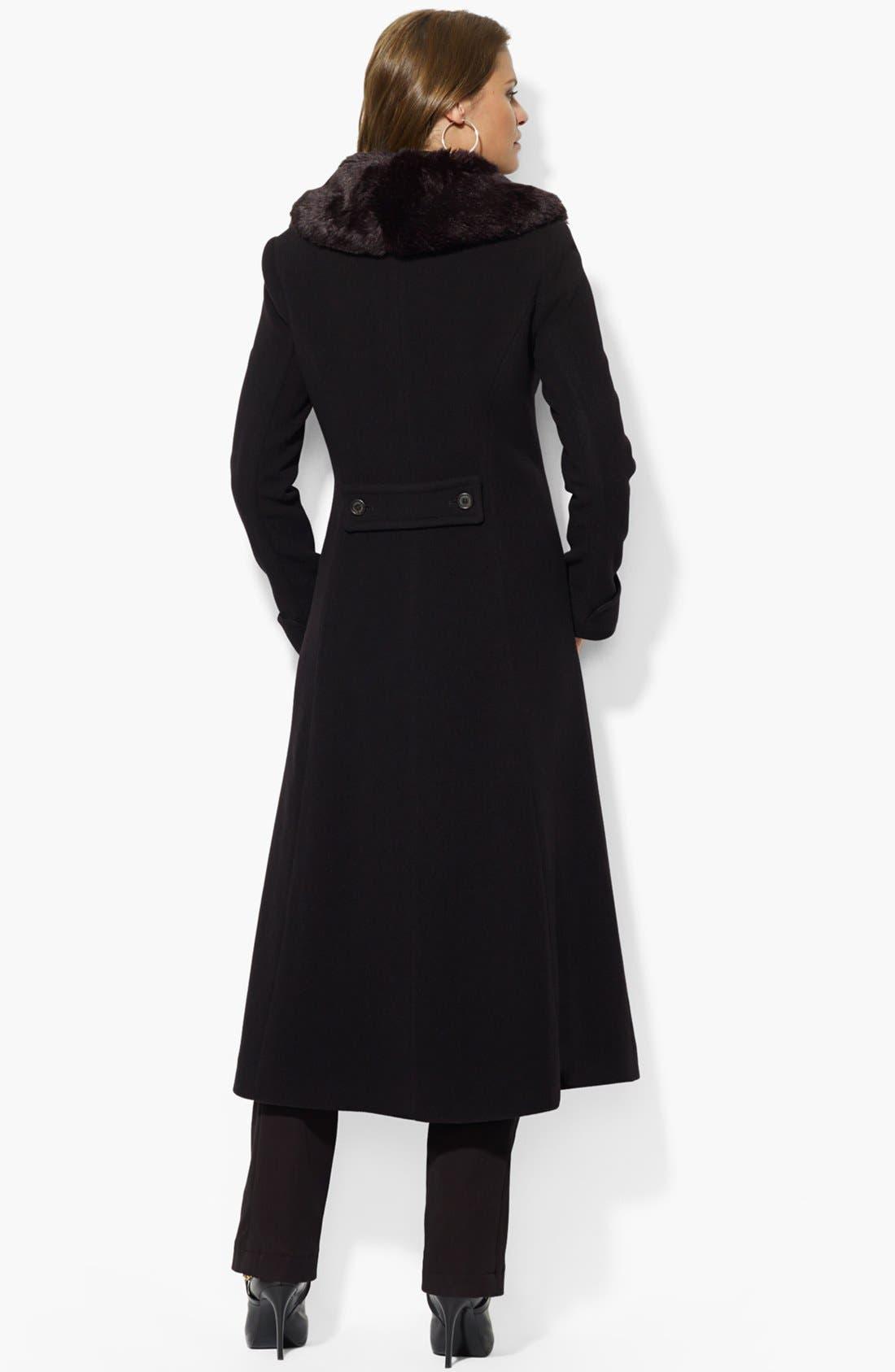 Alternate Image 2  - Lauren Ralph Lauren Faux Fur Collar Wool Blend Coat (Online Only)