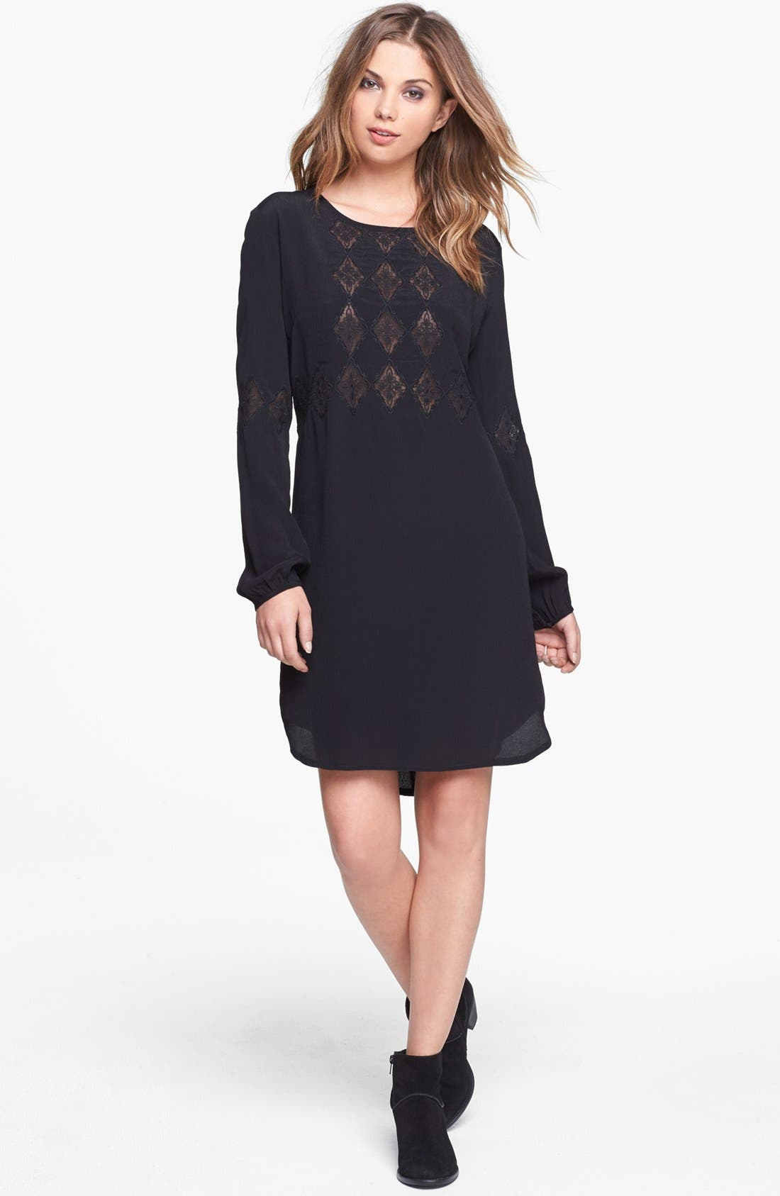 Main Image - ASTR Embroidered Crepe Shift Dress