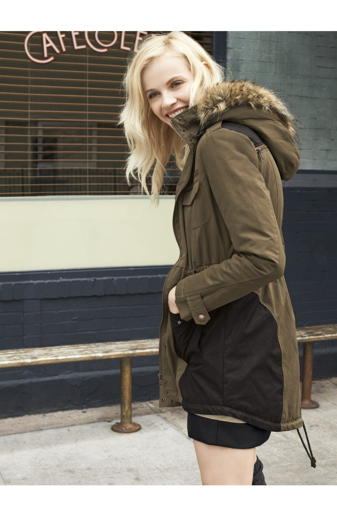 Alternate Image 4  - Sam Edelman 'Louie' Faux Fur Trim Anorak