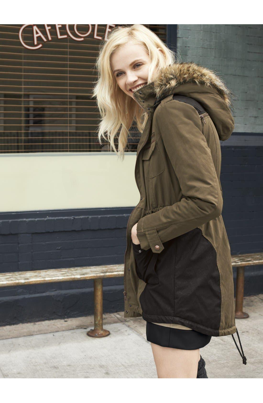 Main Image - Sam Edelman Faux Fur Trim Anorak & kensie Shorts