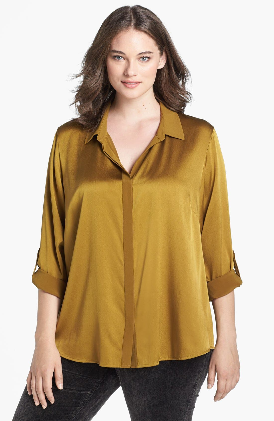 Alternate Image 1 Selected - Eileen Fisher Stretch Silk Shirt (Plus Size)