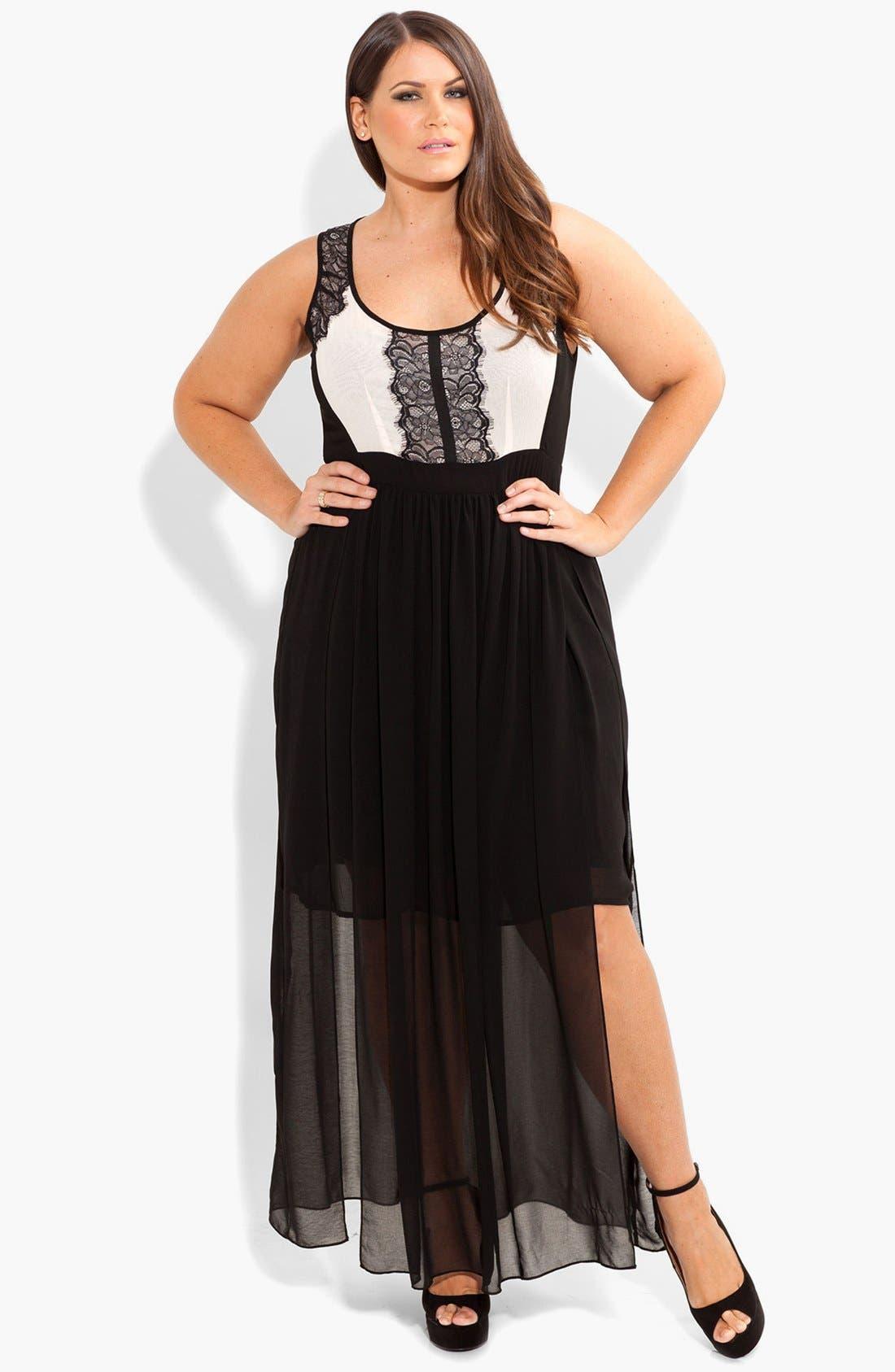 Alternate Image 1 Selected - City Chic 'Sheer Romantic' Maxi Dress (Plus Size)