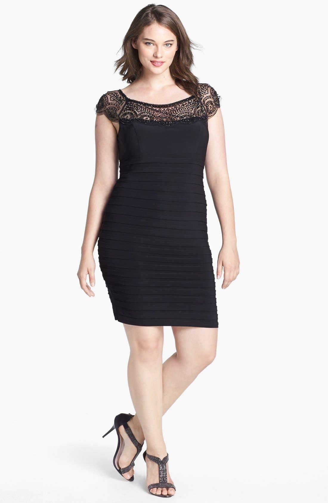 Main Image - Xscape Beaded Yoke Shutter Pleat Sheath Dress