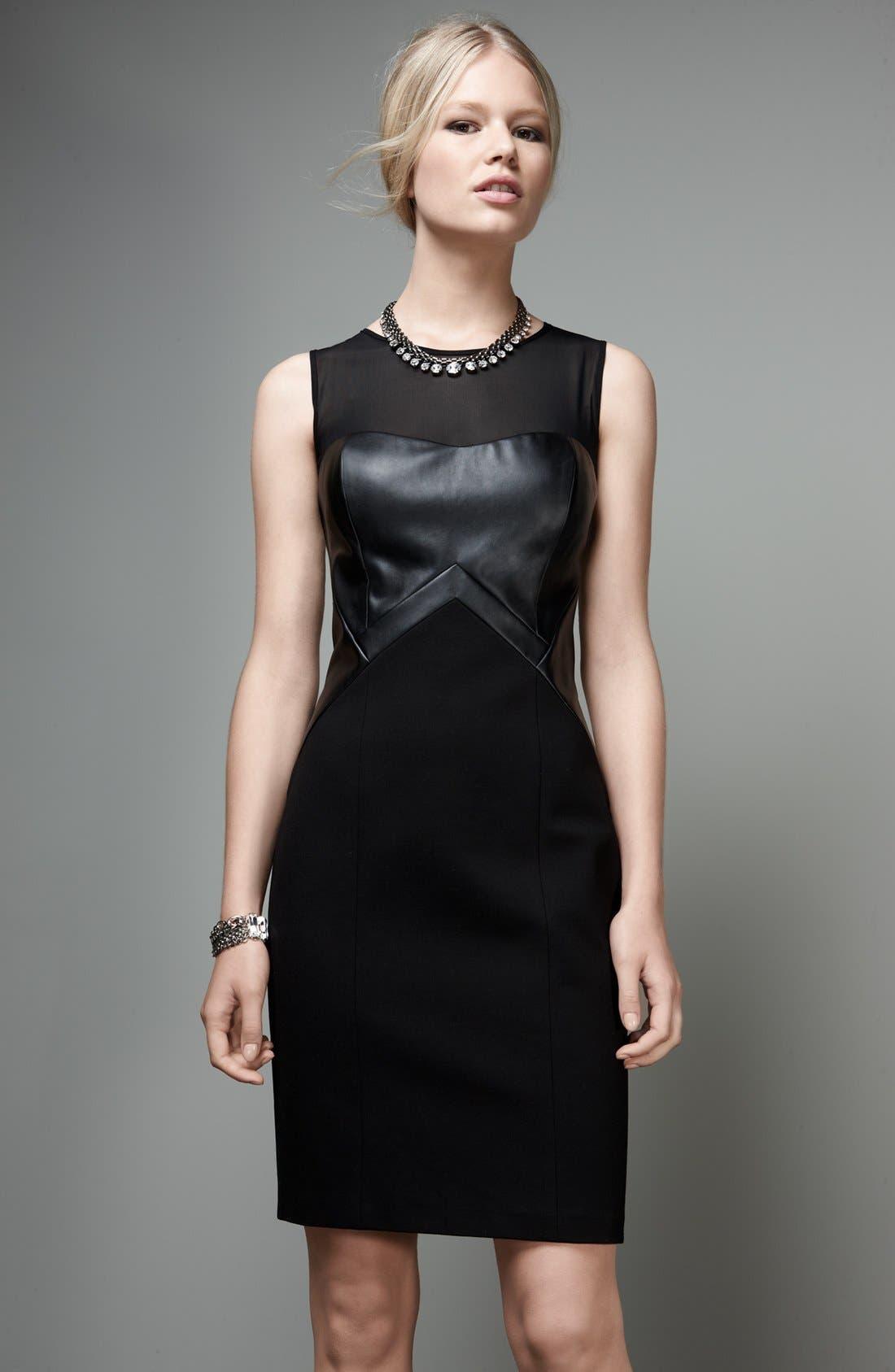 Alternate Image 4  - Aidan by Aidan Mattox Faux Leather Inset Sheath Dress