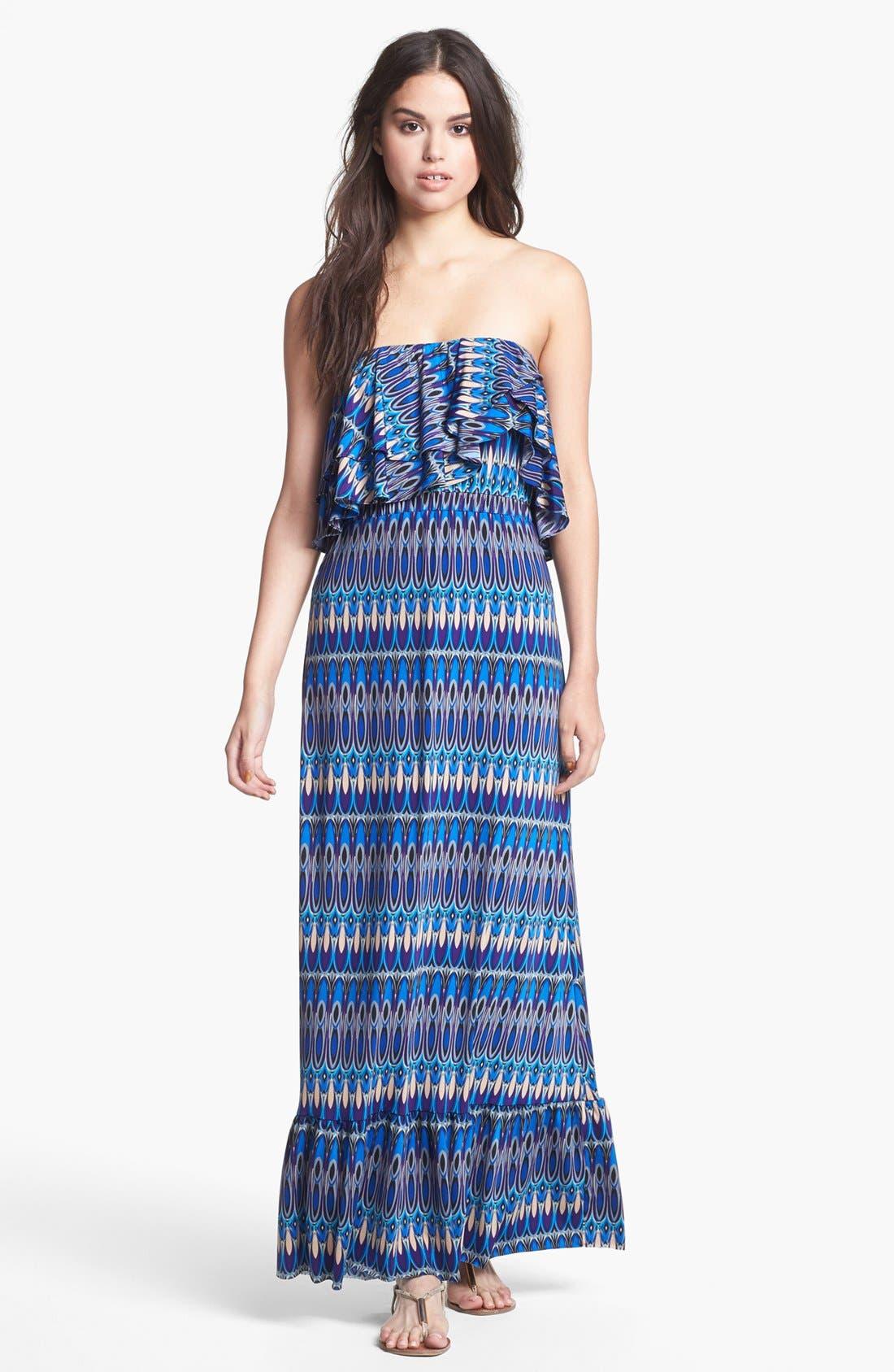 Main Image - Tbags Los Angeles Ruffled Zigzag Maxi Dress