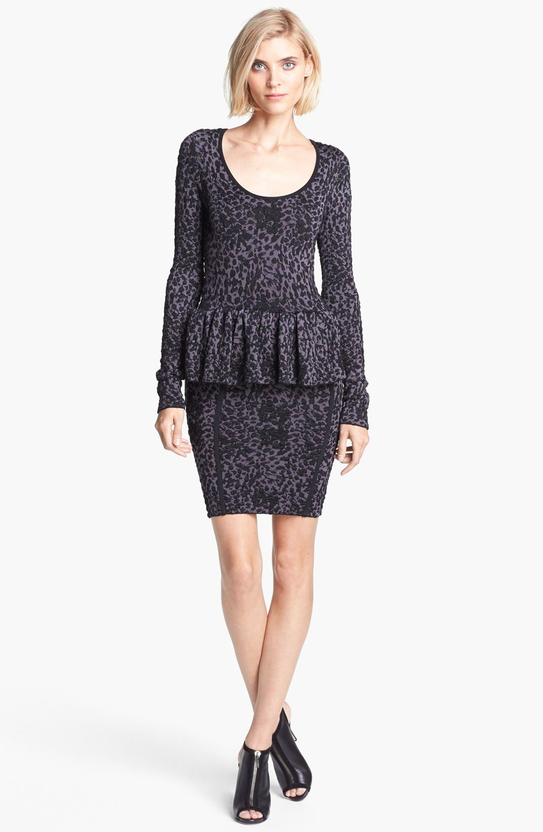 Main Image - Jay Godfrey Leopard Jacquard Knit Peplum Dress