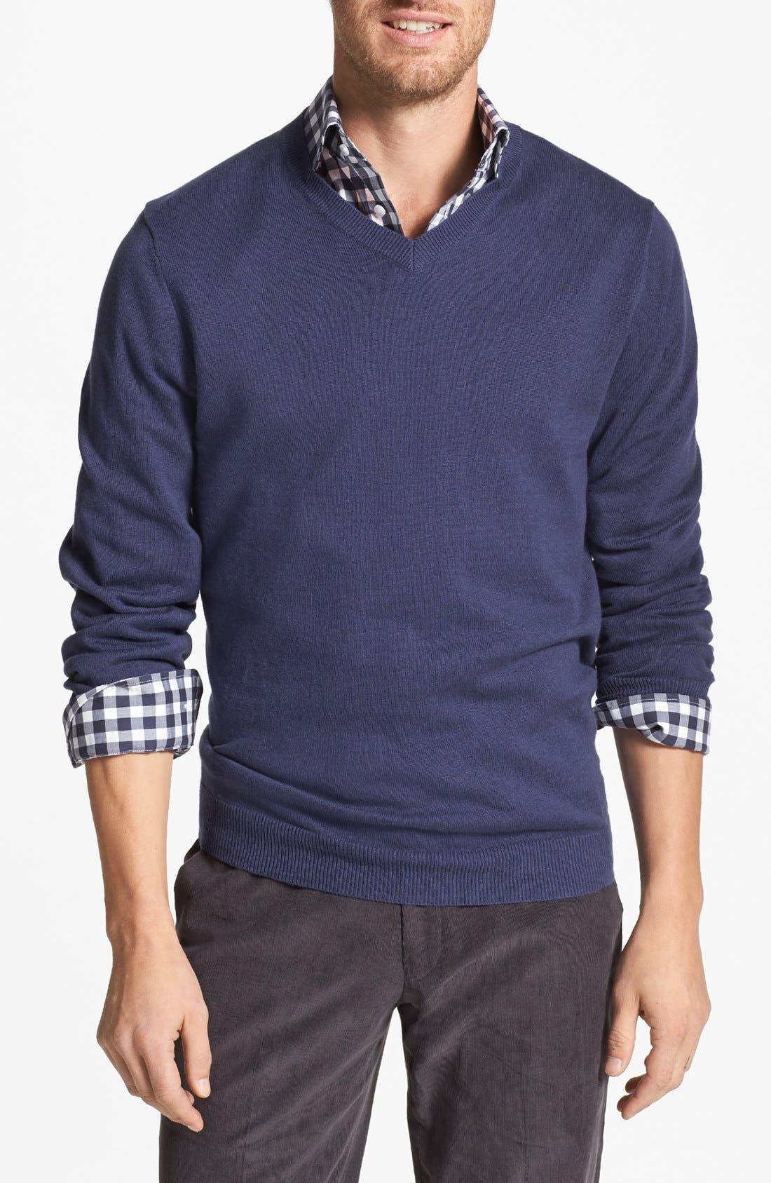 Main Image - Wallin & Bros. Trim Fit V-Neck Cotton & Cashmere Sweater