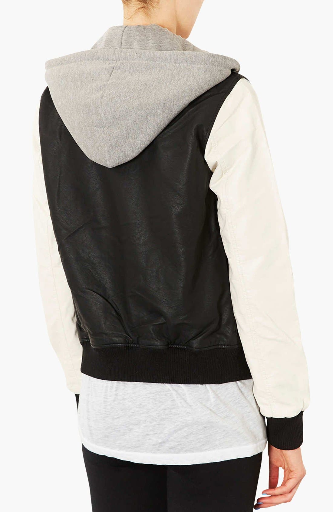 Alternate Image 2  - Topshop Faux Leather Bomber Jacket