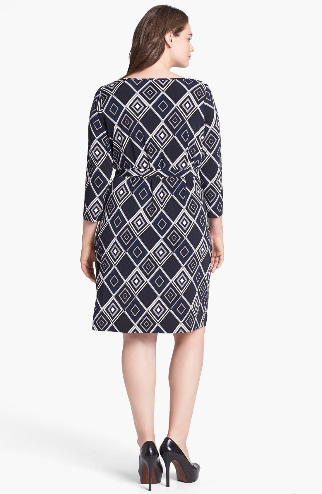 Alternate Image 2  - Anne Klein Print Faux Wrap Jersey Dress (Plus Size)