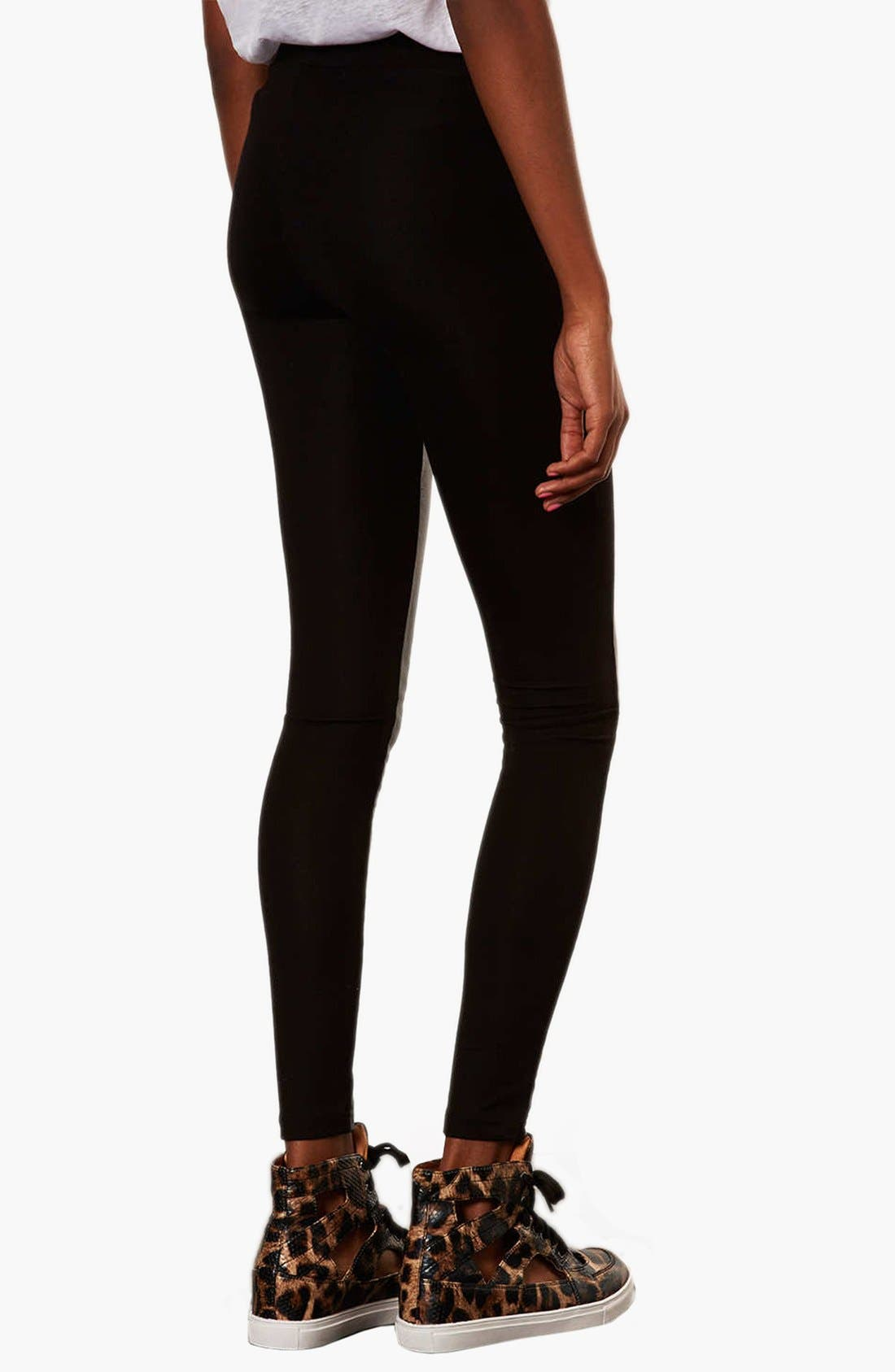 Alternate Image 2  - Topshop Faux Leather Front Leggings