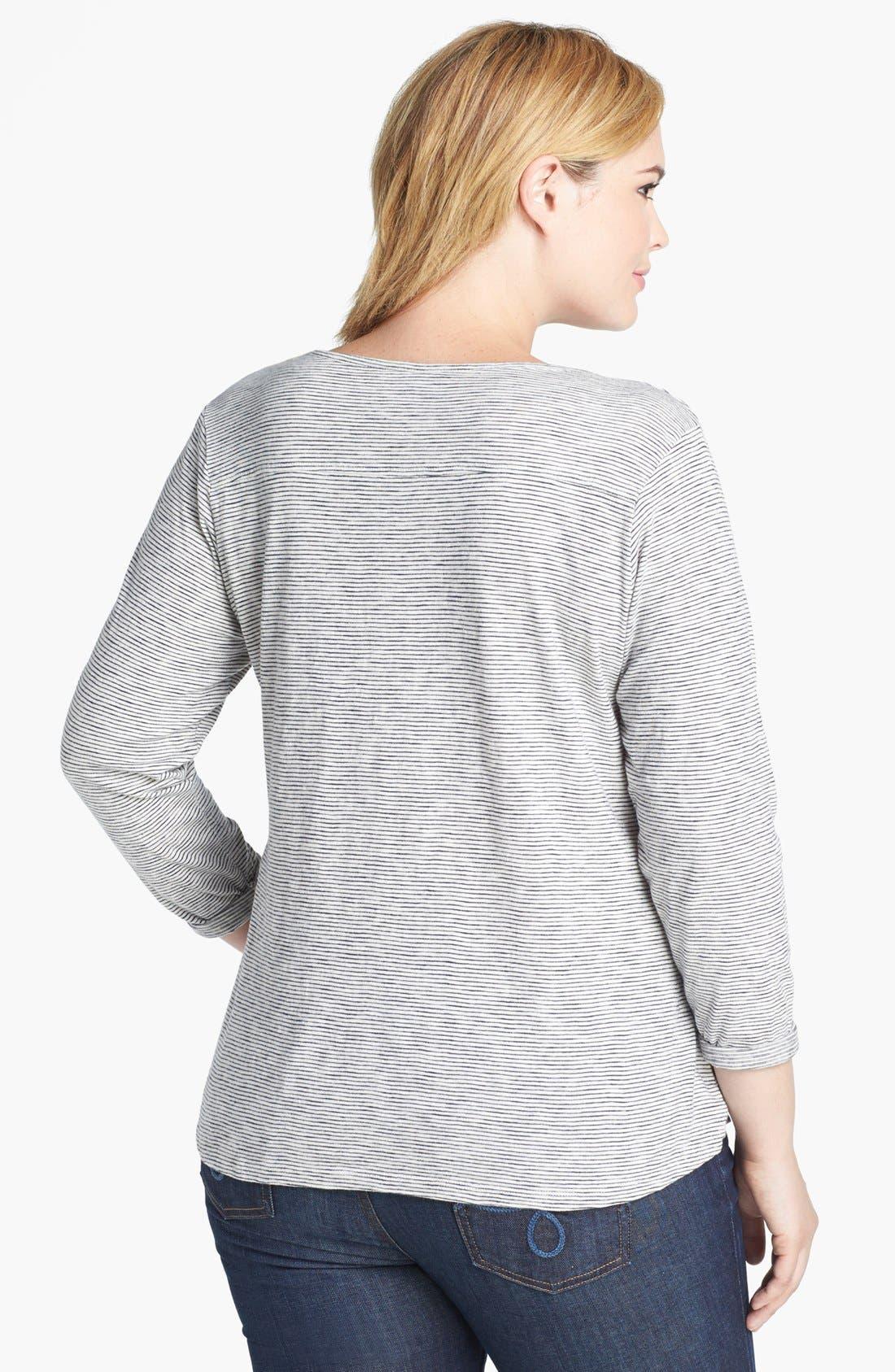 Alternate Image 2  - Lucky Brand Mini Stripe Cotton Top (Plus Size)