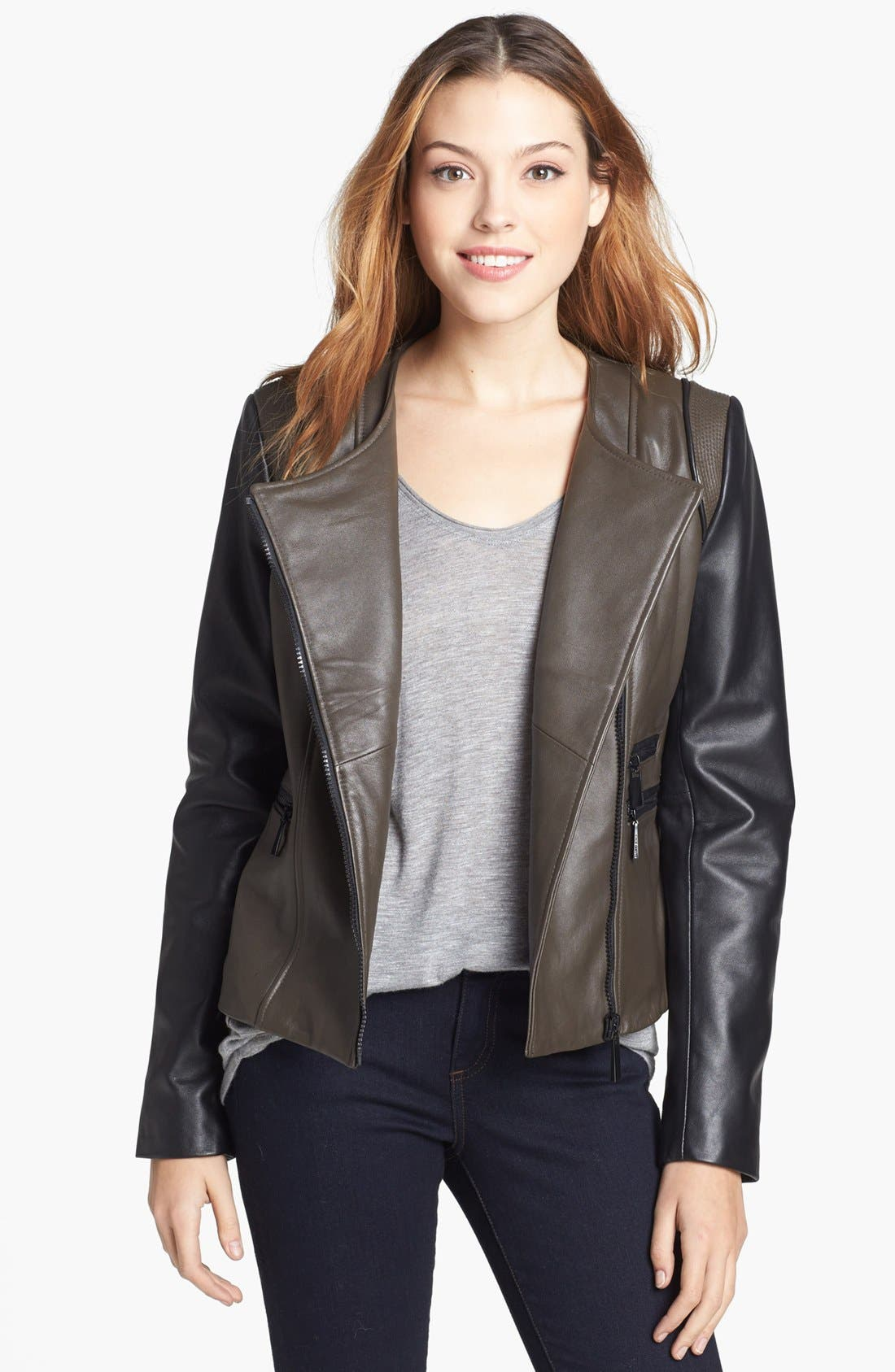 Alternate Image 1 Selected - Vince Camuto Two-Tone Collarless Leather Moto Jacket (Online Only)