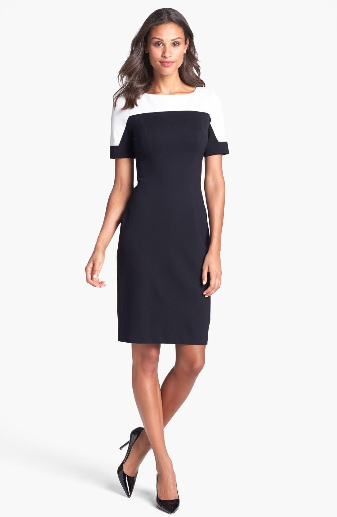 Main Image - Ivy & Blu Colorblock Ponte Knit Sheath Dress