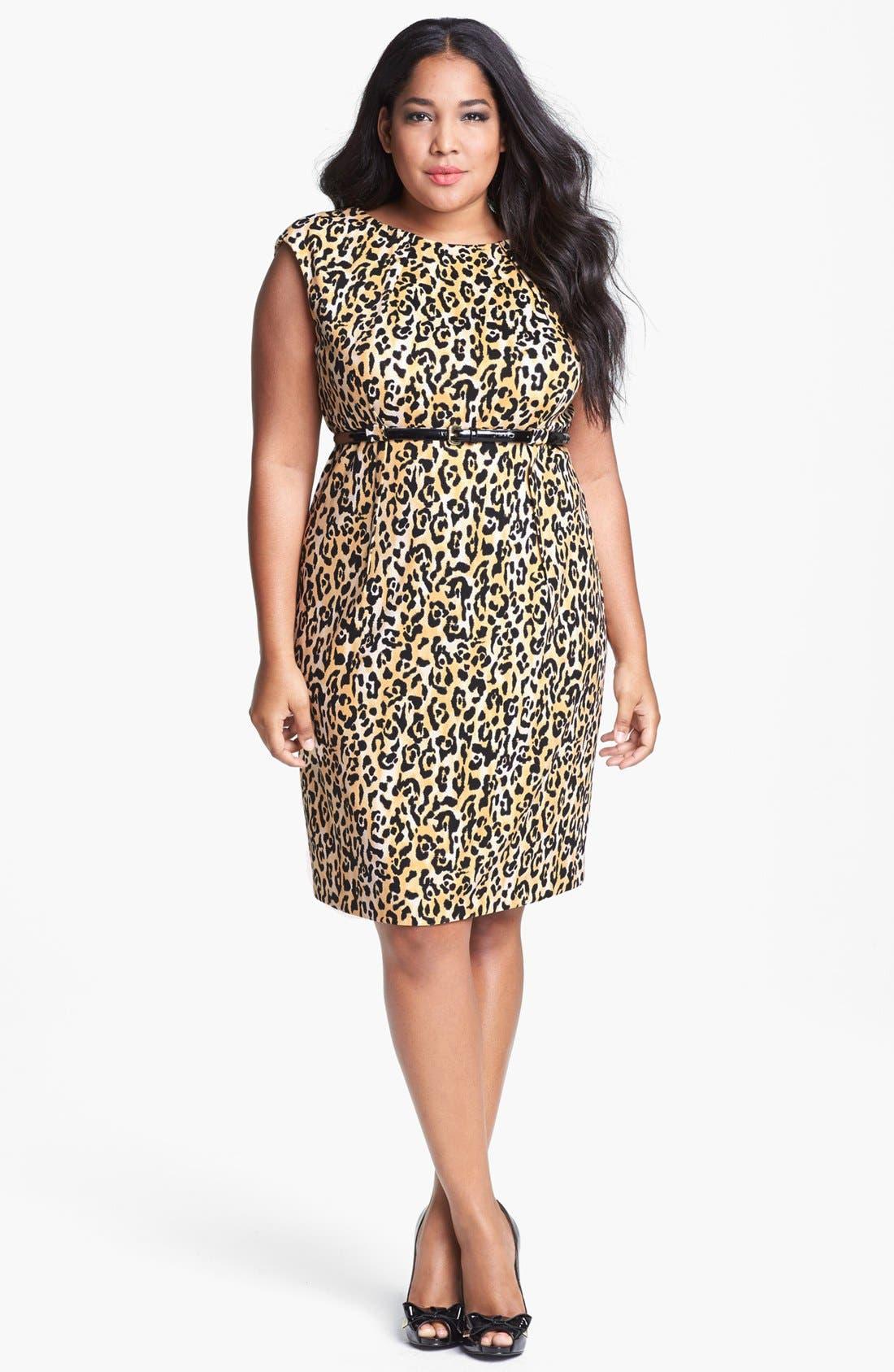 Main Image - Calvin Klein Print Ponte Knit Sheath Dress (Plus Size)