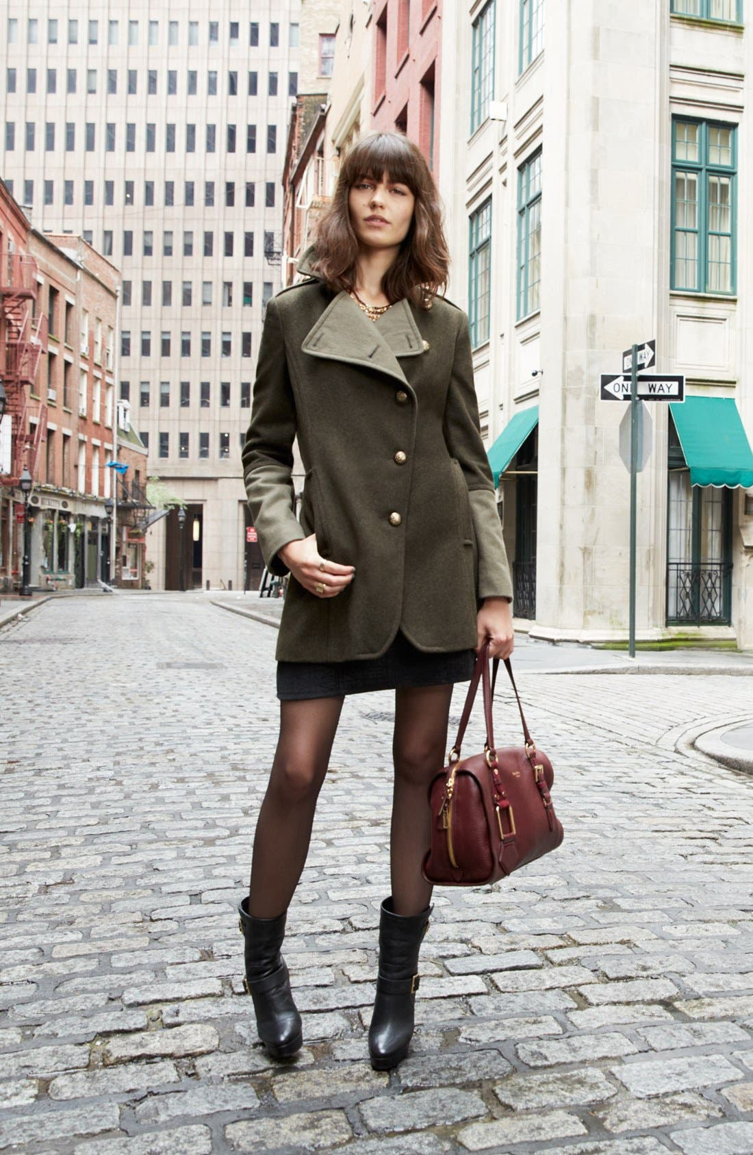 Alternate Image 2  - Kenneth Cole New York Asymmetrical Wool Blend Military Coat