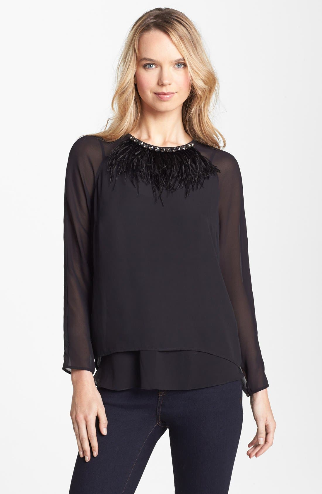 Main Image - Vince Camuto Feather Necklace Blouse