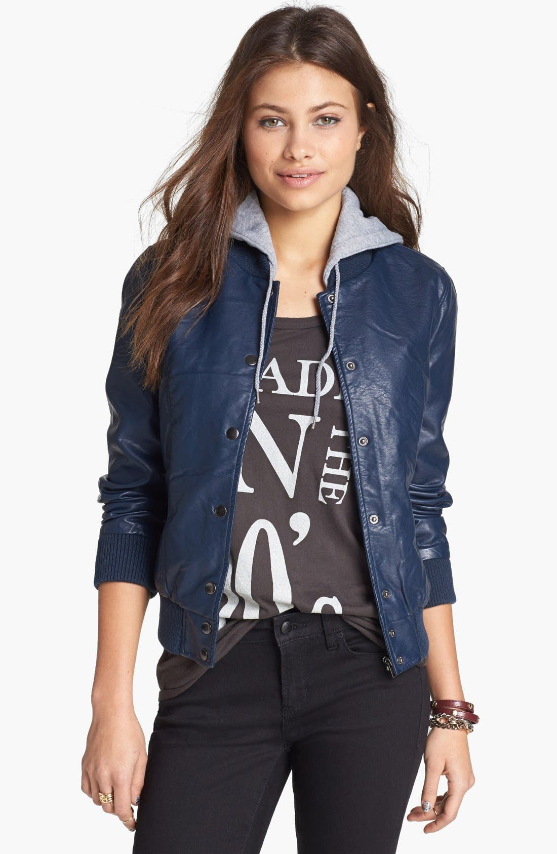 Alternate Image 1  - Thread & Supply Hooded Faux Leather Bomber Jacket