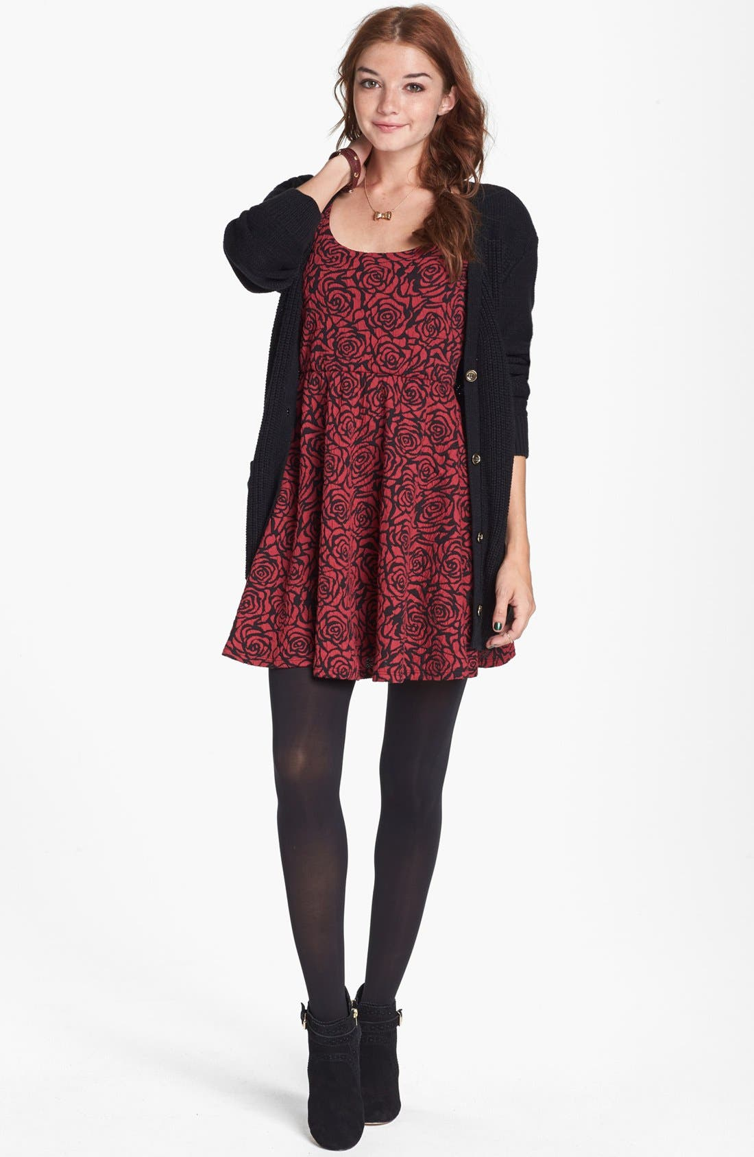 Alternate Image 1 Selected - dee elle Jacquard Skater Dress (Juniors)